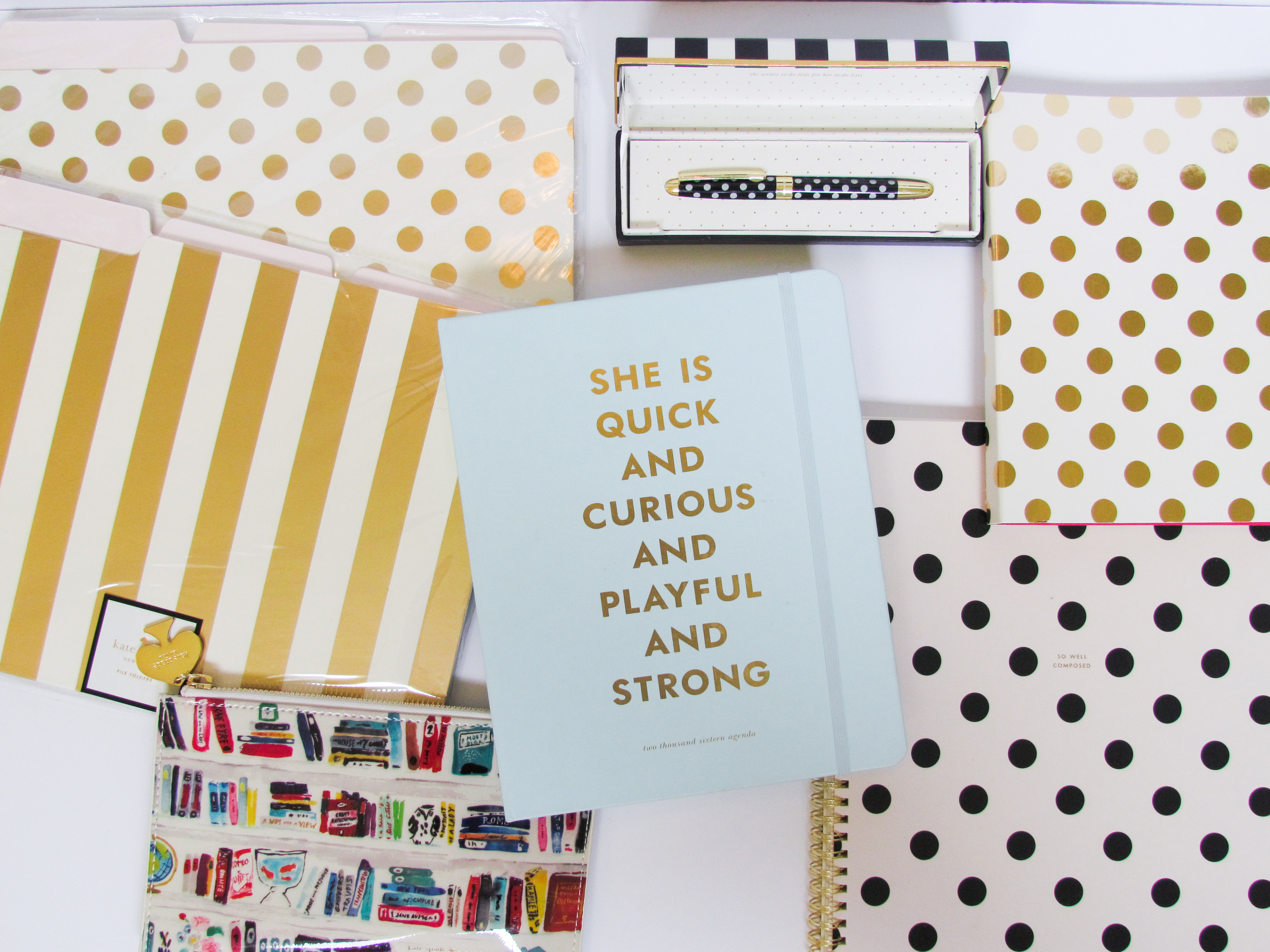 Kate Spade gold foil file folders, light blue agenda, book pencil bag, polka dot notebooks, polka dot pen