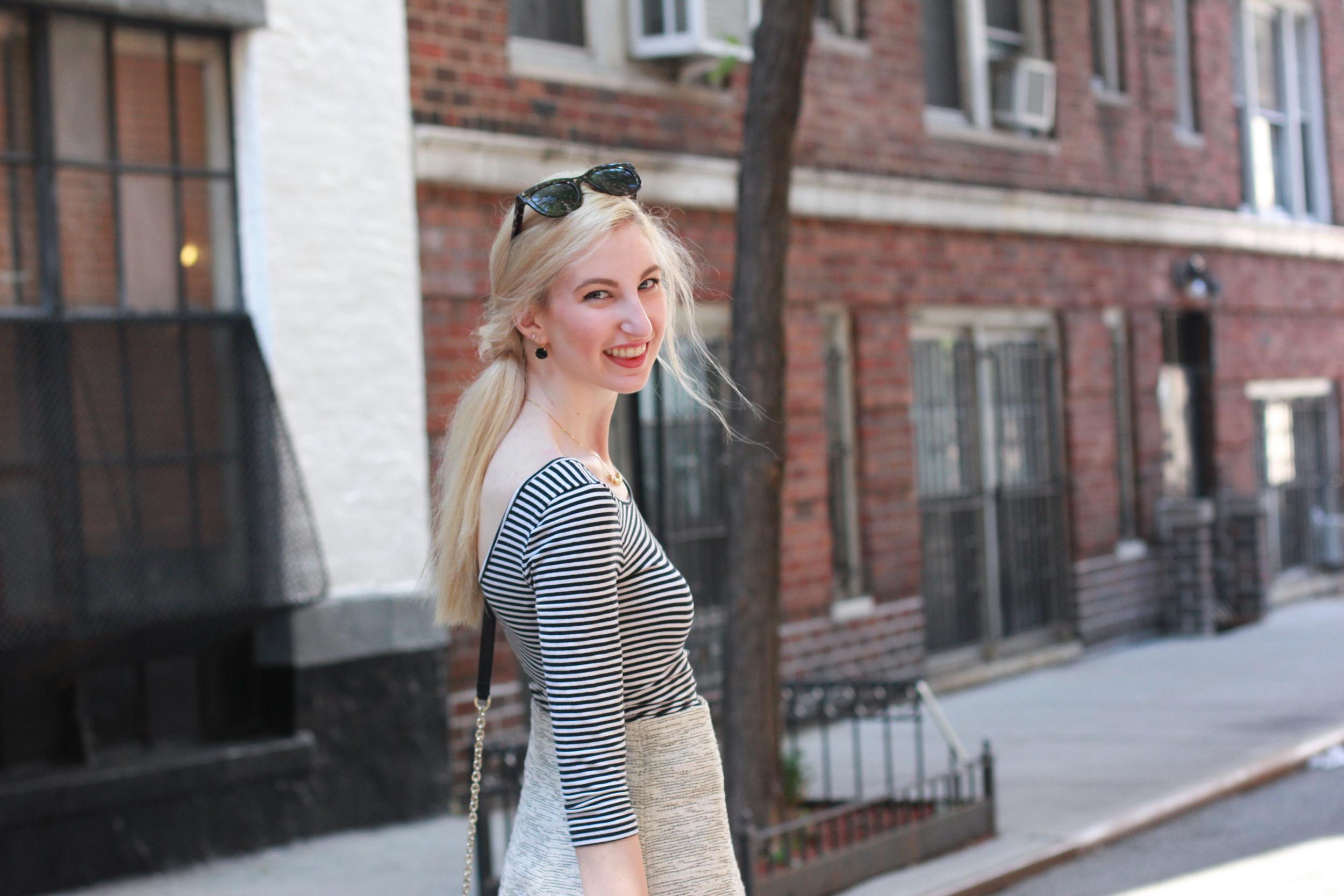 Top -  Similar / Skirt -  LOFT / Bag -  Similar / Flats -  Similar / Earrings -  Kate Spade / Bracelet -  Kendra Scott