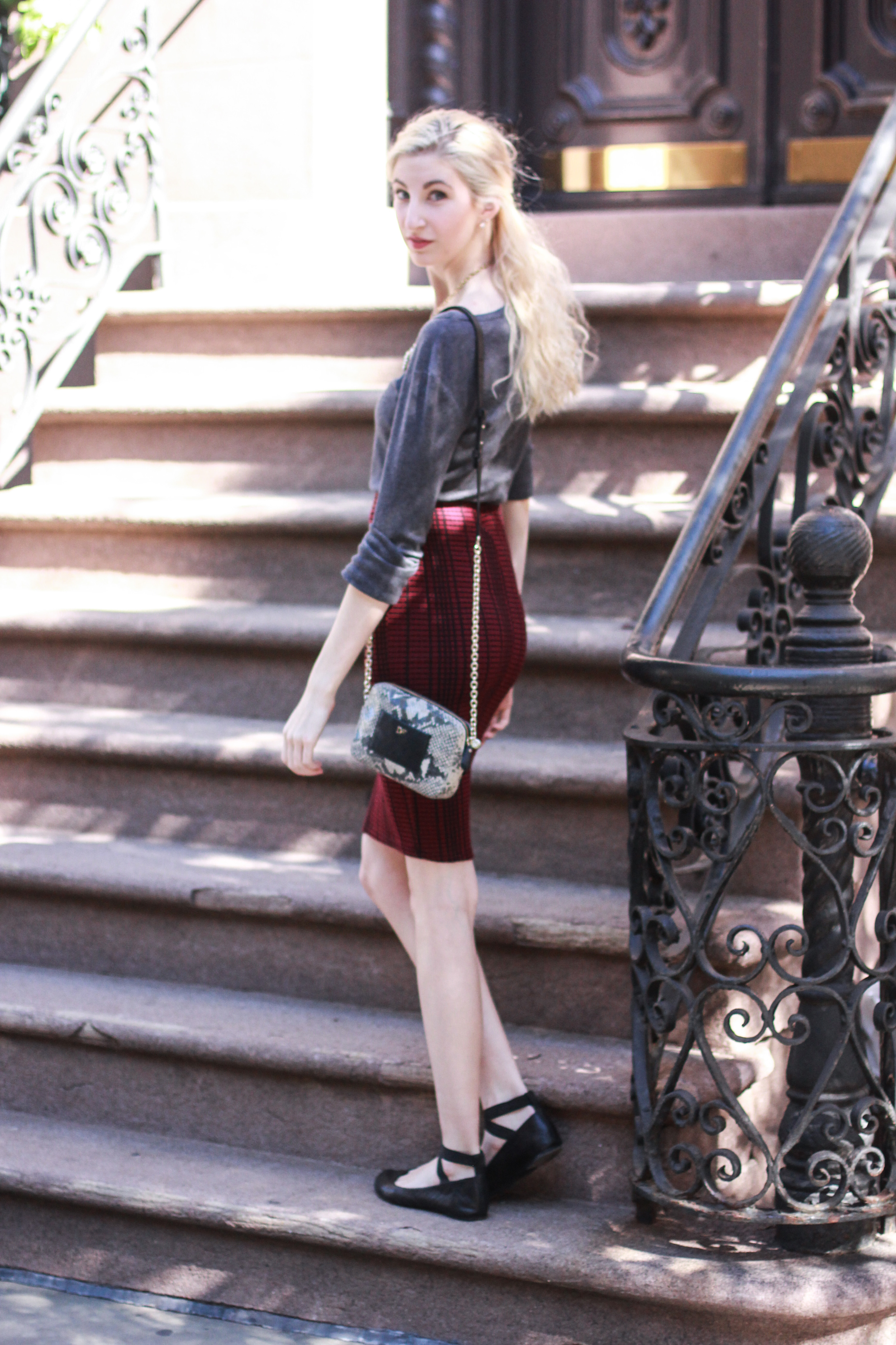 GAP grey longsleeve tee, audrey brooke black ballet flats, J.Crew crystal statement necklace, red Lush midi pencil skirt