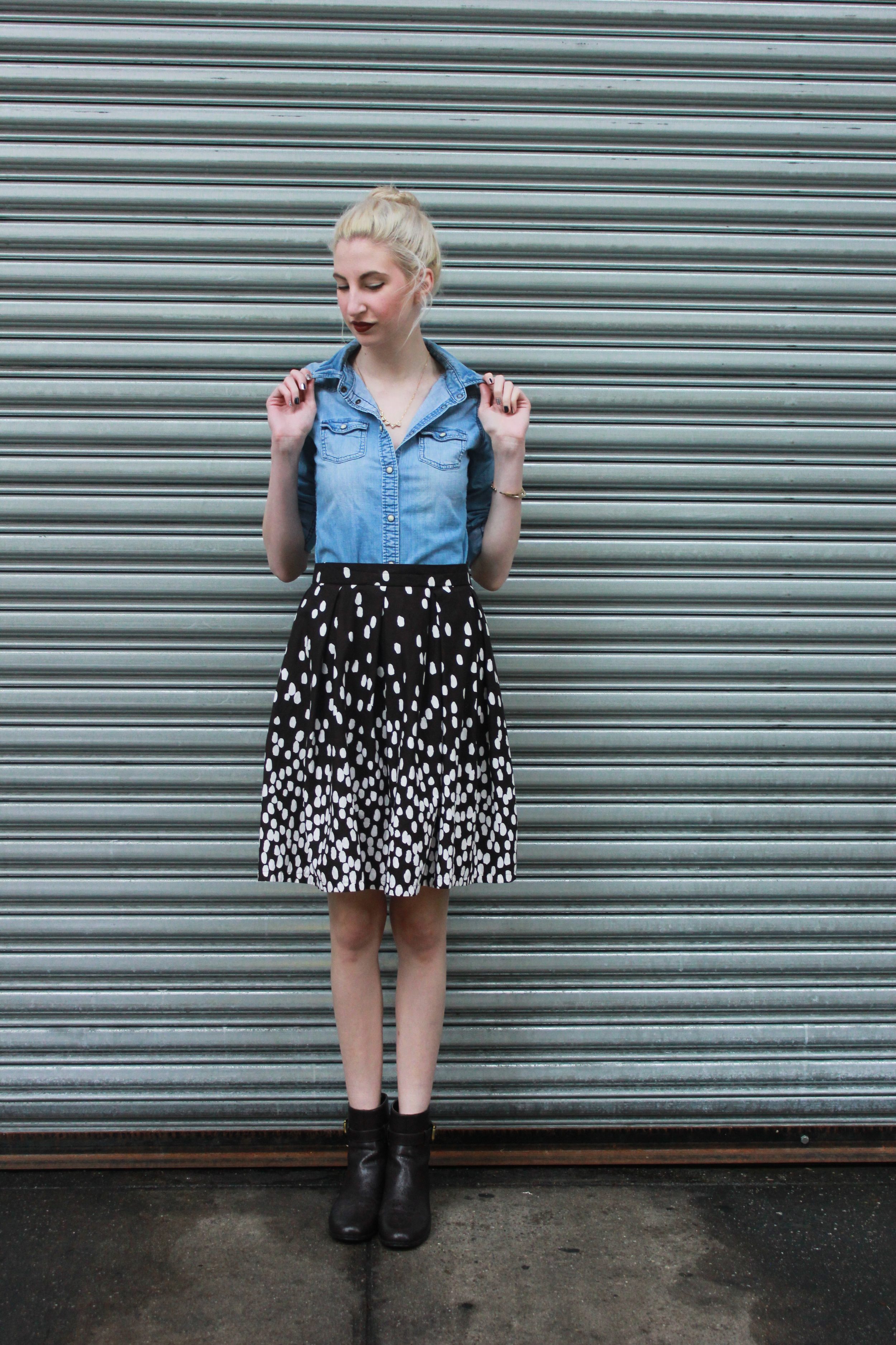 American Eagle Denim shirt, handmade midi skirt, brown leather booties, simple gold necklace from LOFT, Clinique's Cola Pop Color pop lipstick
