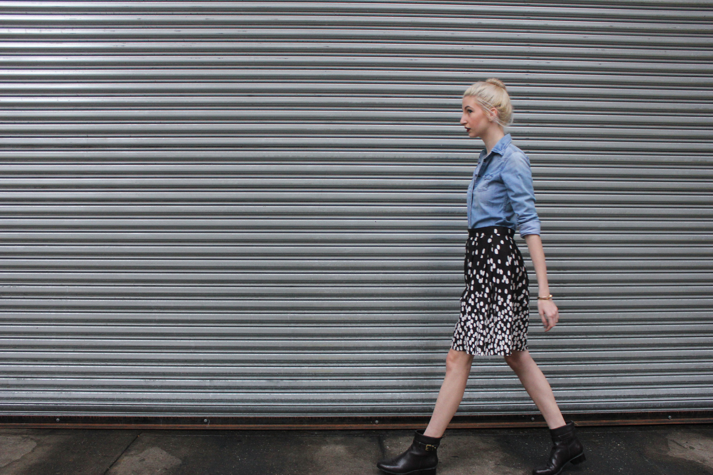 Shirt -  American Eagle  / Skirt - made myself! ( similar ) / Boots - TJ Maxx ( similar ) / Lipstick -  Clinique