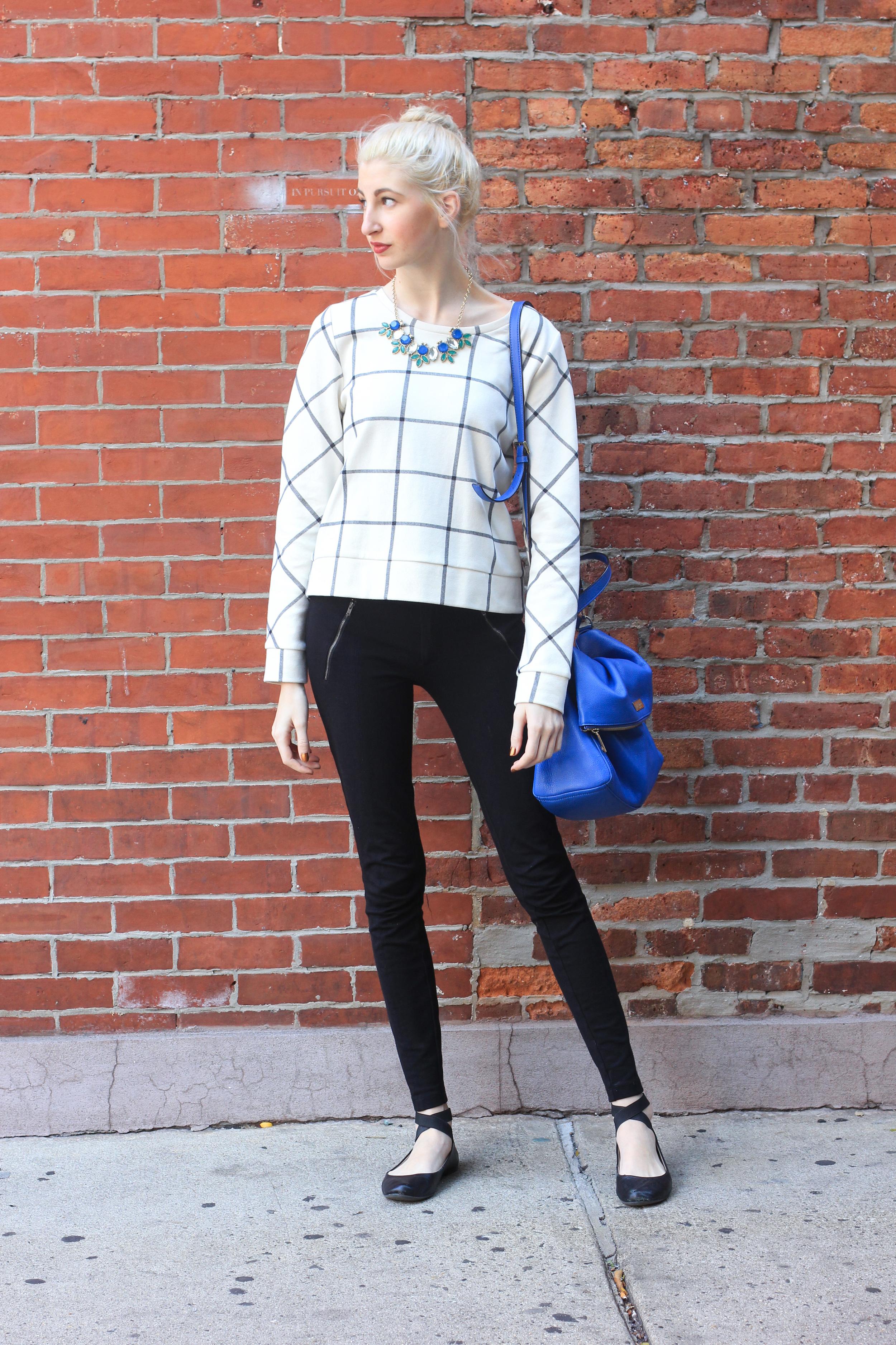 LOFT sweater, J.Crew snap front pixie pants, black ballet flats, Forever21 necklace, kate spade cobalt bag