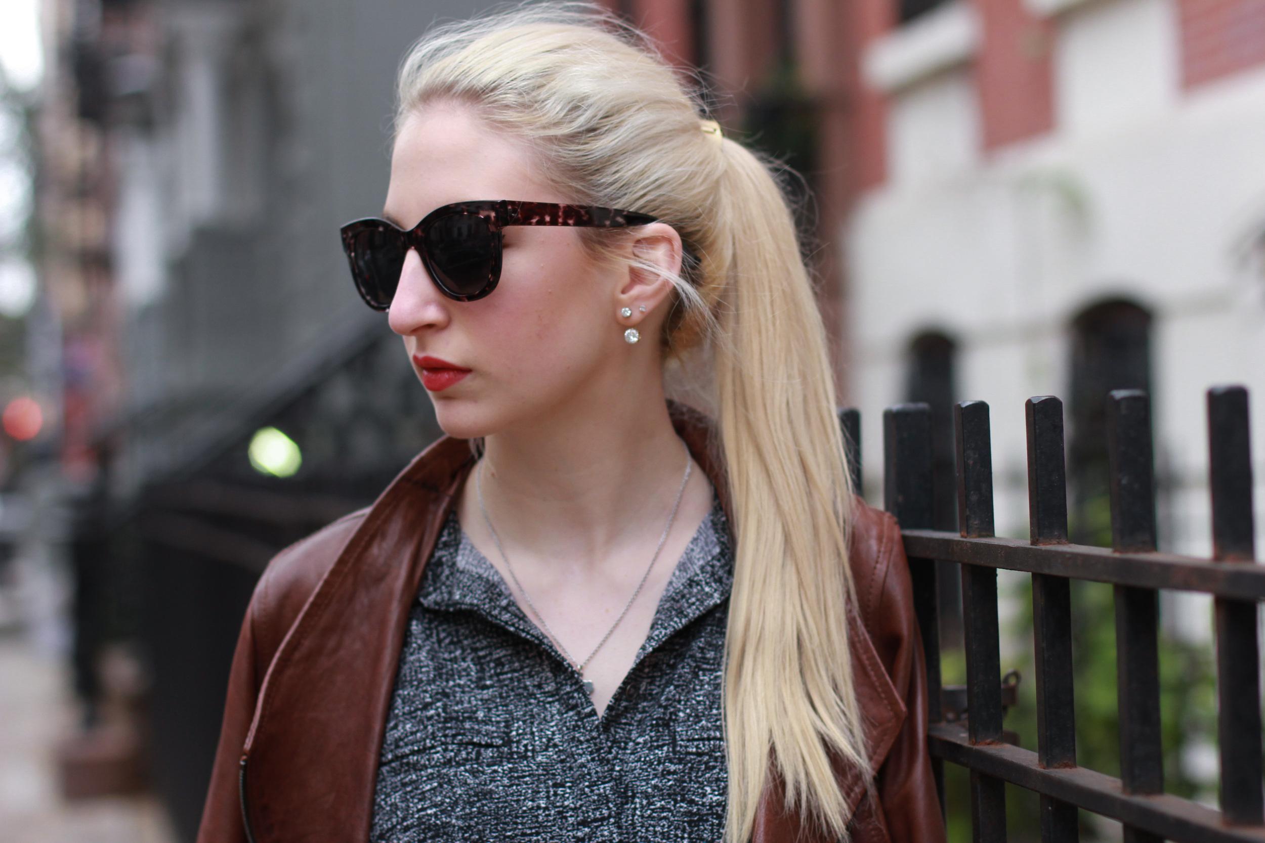 Lou & Grey shift dress, brown leather jacket, black ballet flats, gold ponytail holder, diamond drop earrings, clinique color pop lipstick in Poppy Pop.
