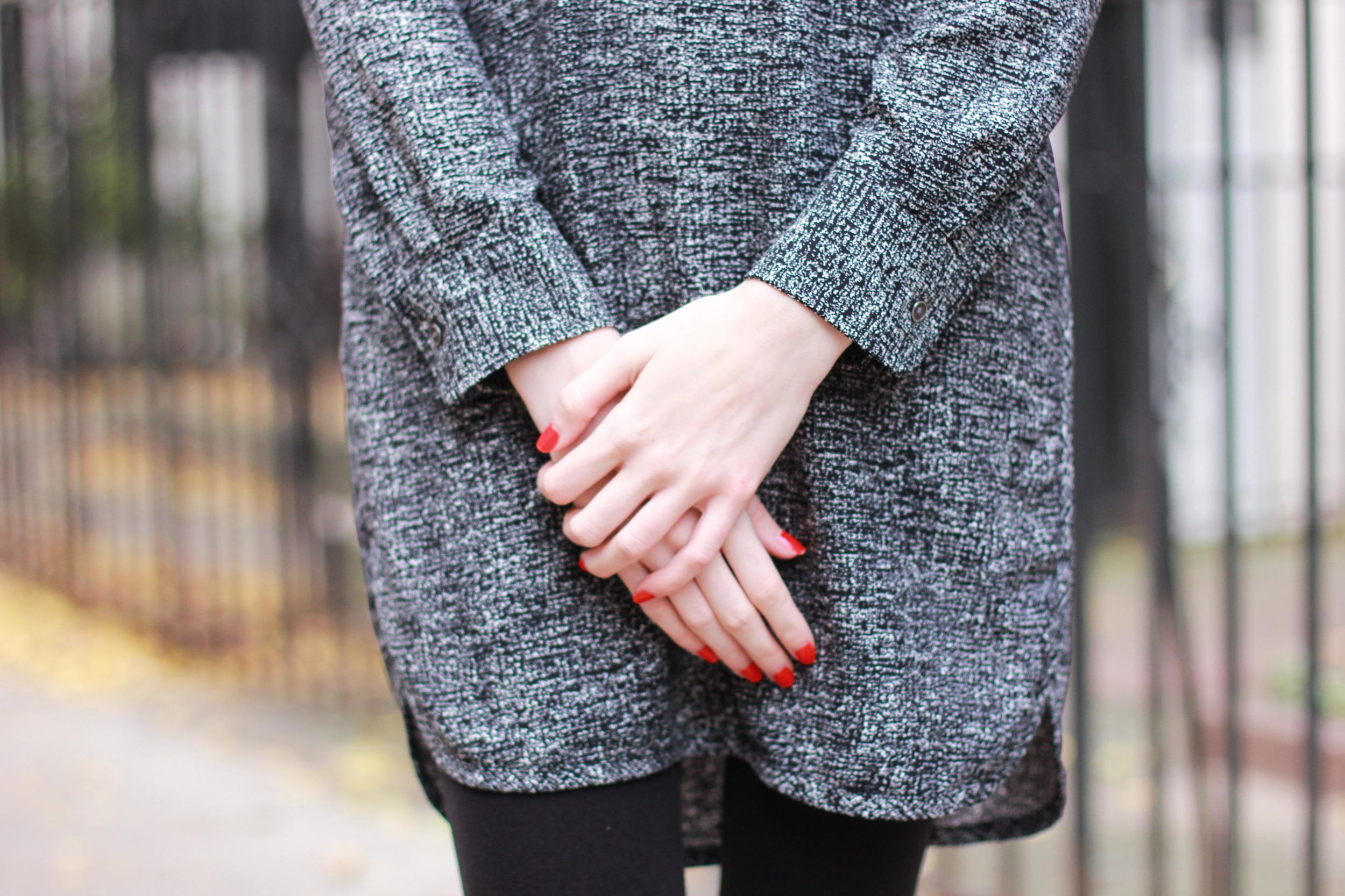 Lou & Grey shift dress, brown leather jacket, black ballet flats, gold ponytail holder, diamond drop earrings, clinique color pop lipstick in Poppy Pop, essie polish in geranium