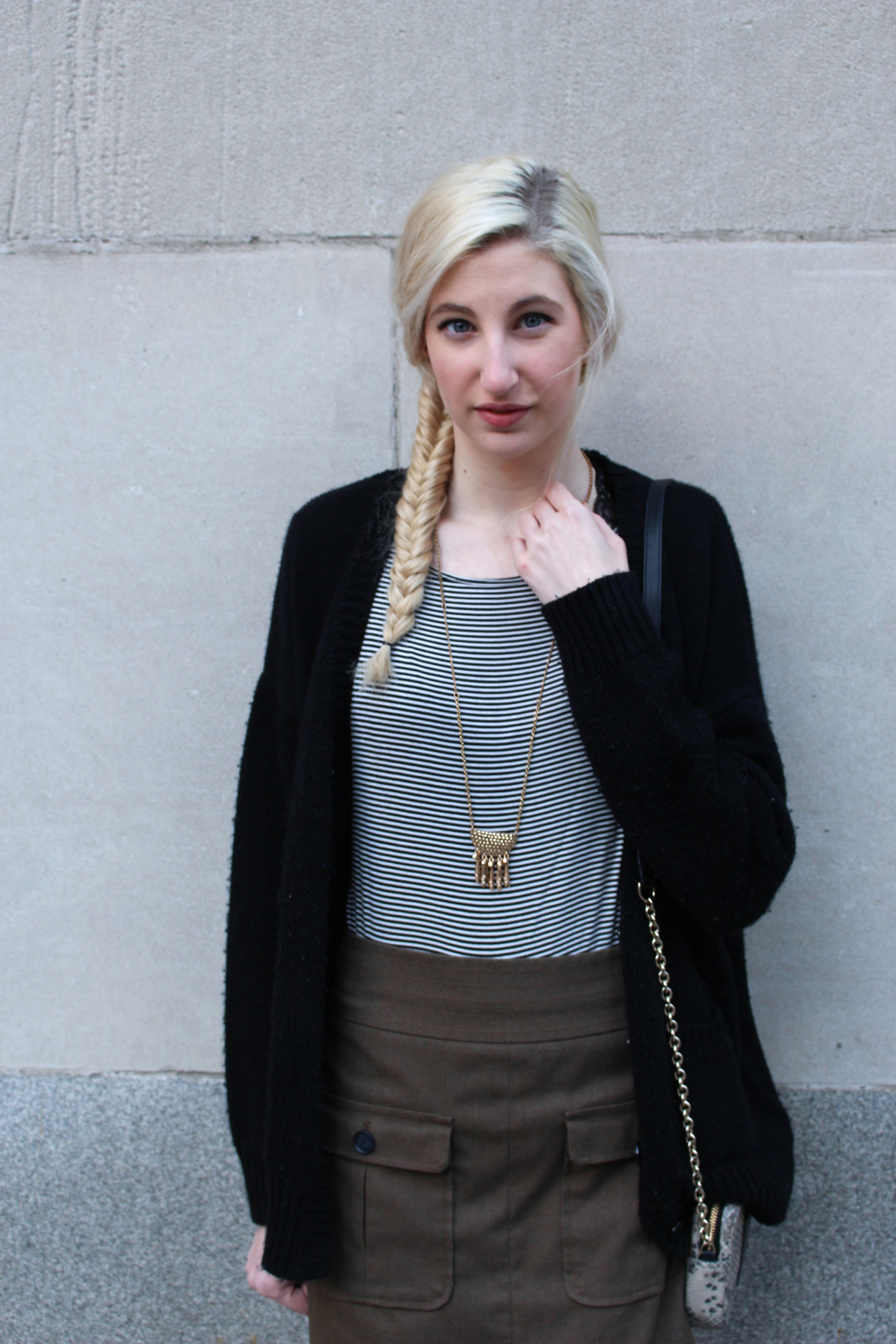 LOFT striped long sleeve knit top, LOFT army green skirt, LOFT gold fringe necklace, Forever21 oversized cardigan, H&M tights, LOFT polka dot d'orsay flats