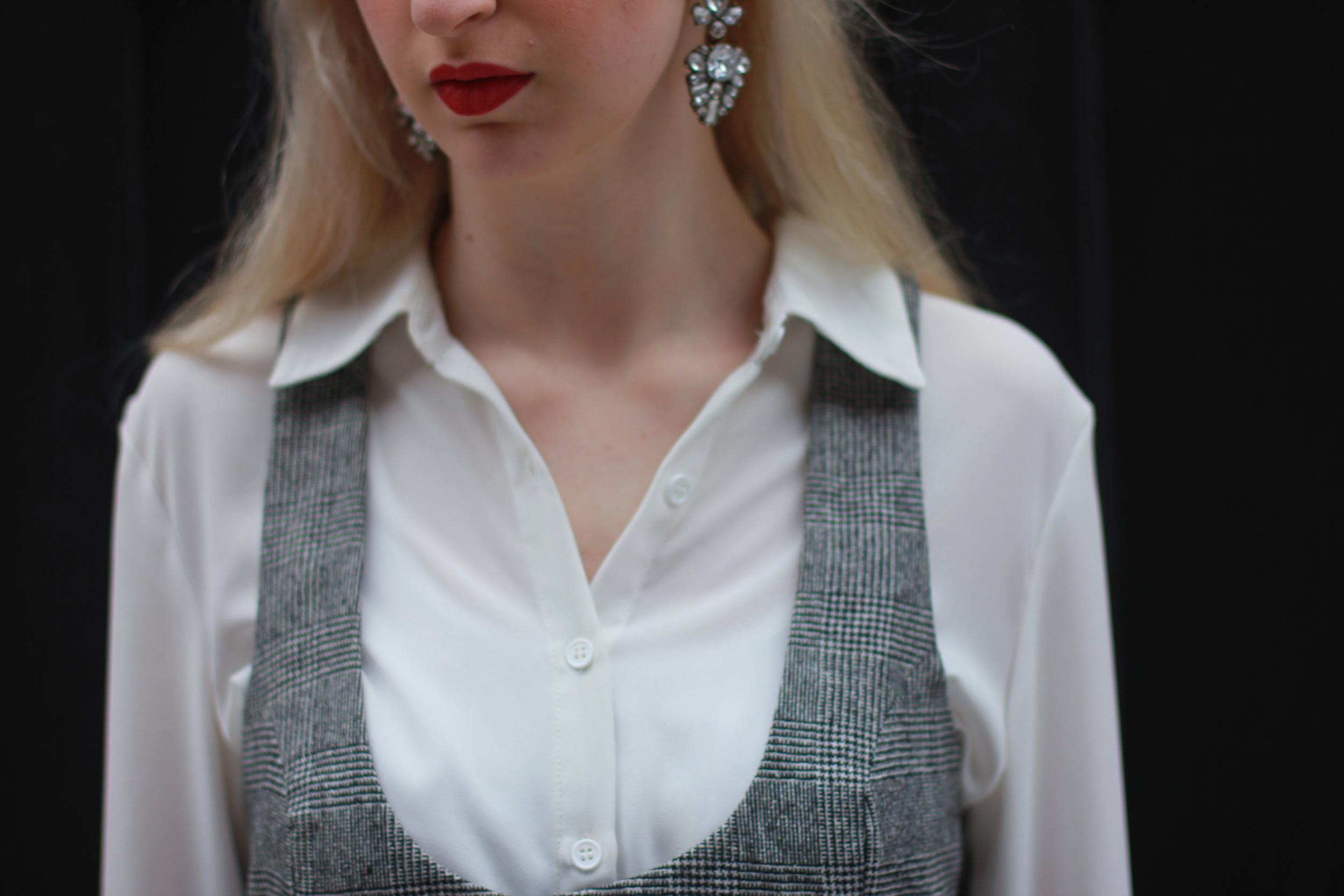 vintage dress, Forever21 white chiffon button down, black elastic ankle strap ballet flats, nars matte lip pencil in cruella, baublebar statement earrings
