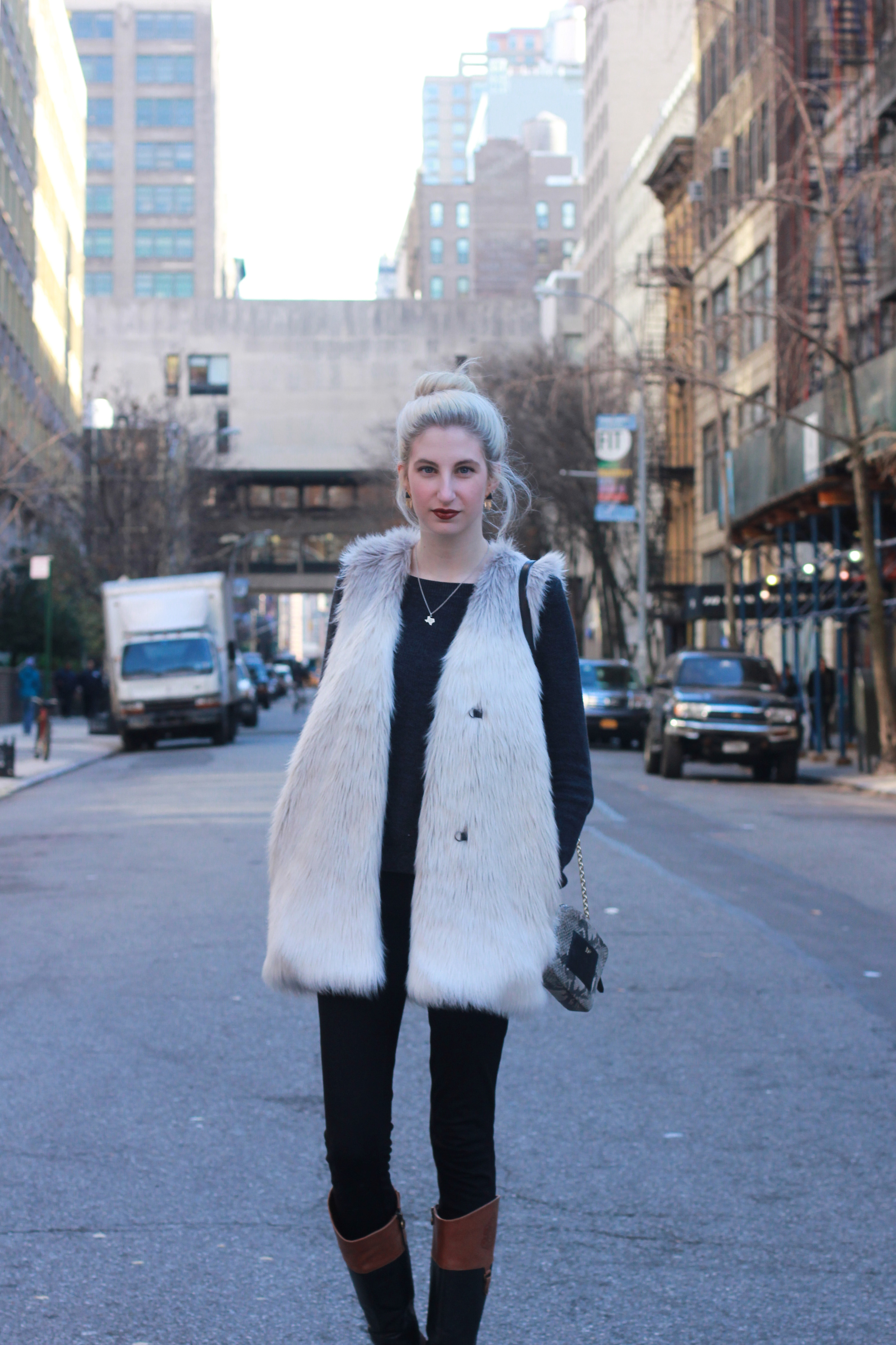 H&M triangle drop stud earrings, LOFT mixed media sweater, J.Crew snap front pixie pants, Franco Sarto riding boots, H&M white and grey Faux fur vest, Clinique Color pop lipstick in Cola Pop