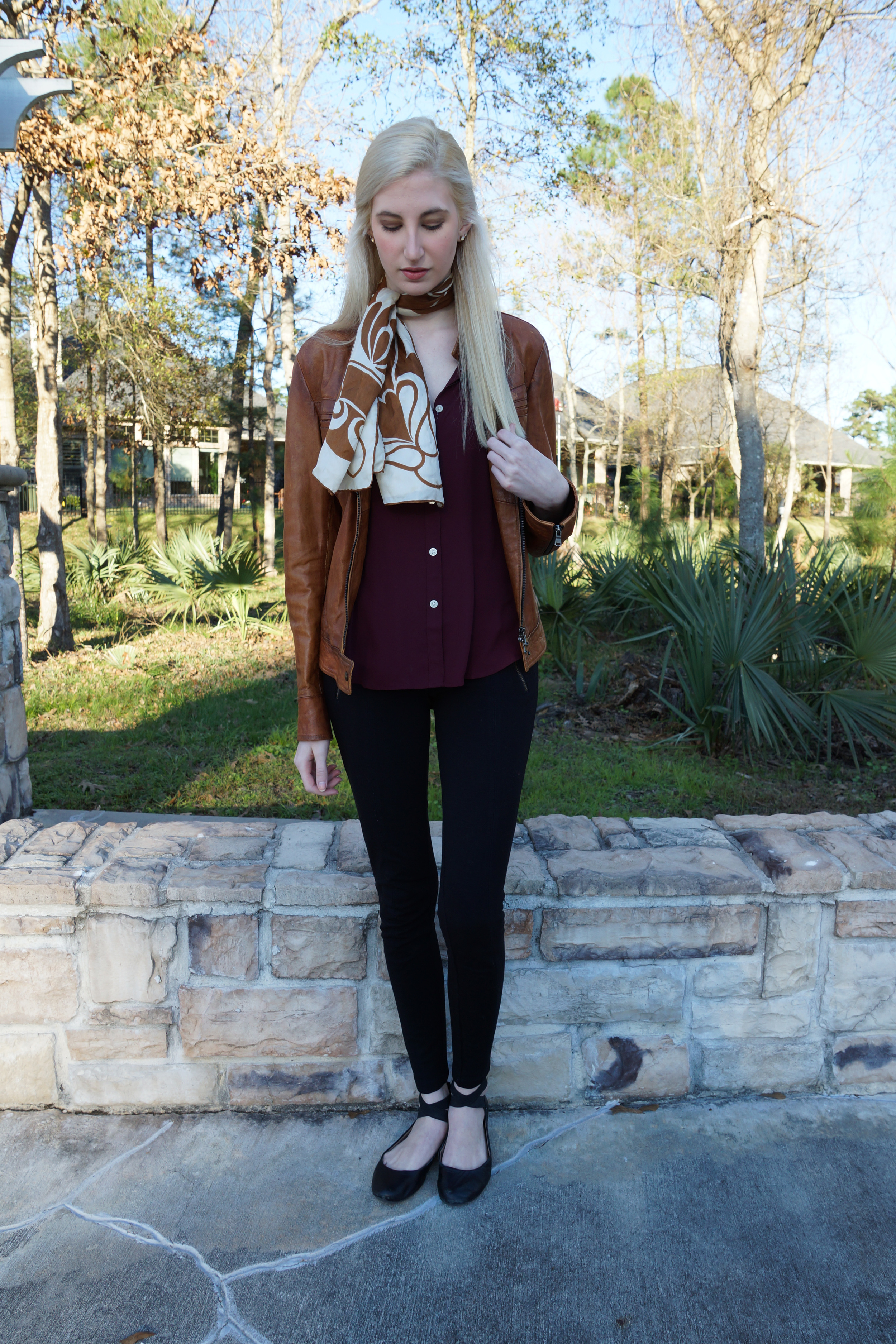 LOFT burgundy button down, brown leather jacket, j.crew snap front pixie pants, black ankle strap ballet flats, vintage brown scarf, stella & dot earrings