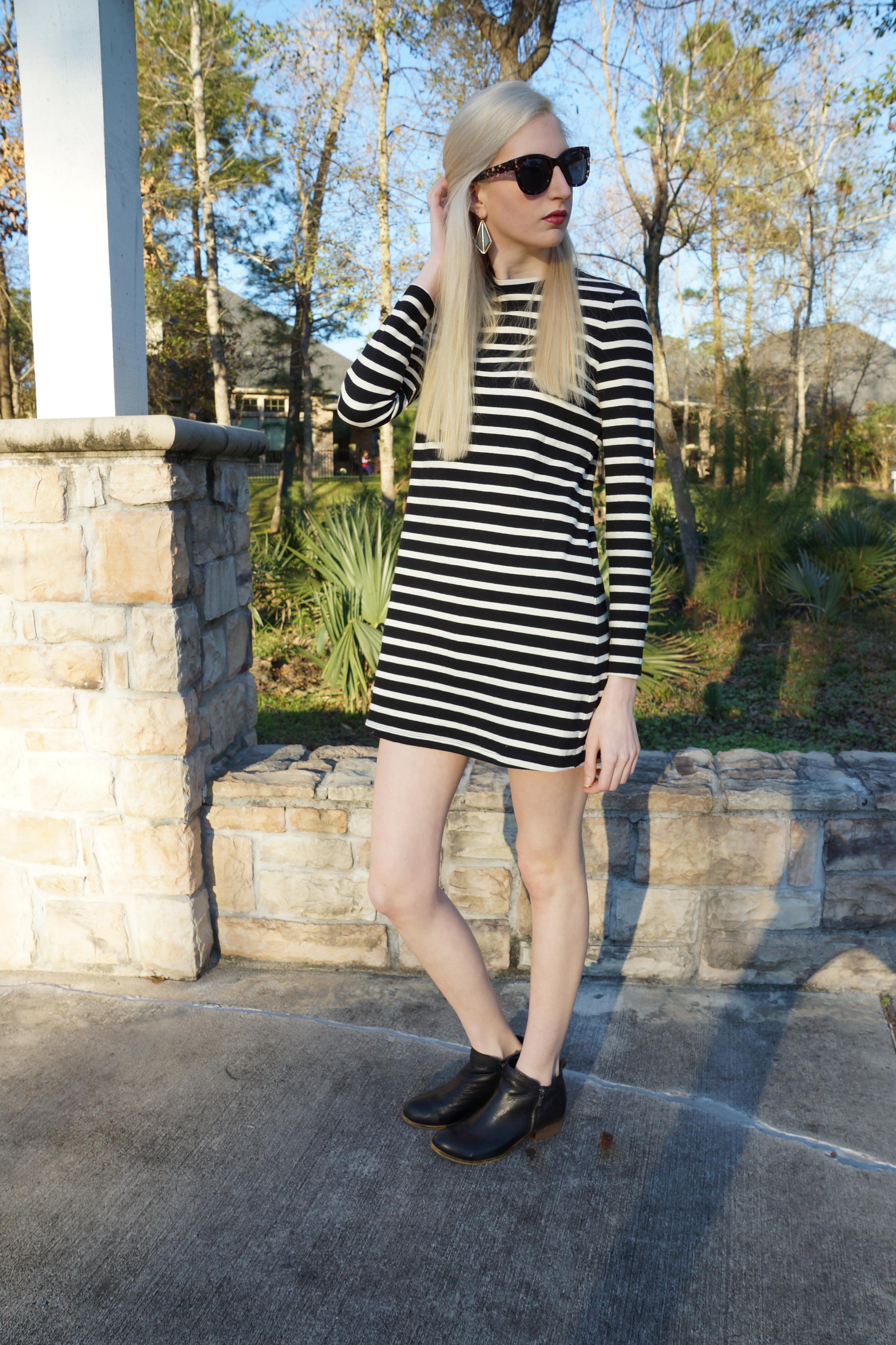 Forever 21 striped shift dress, steve madden black ankle boots, LOFT sunglasses, target earrings, Elizabeth Arden lipstick