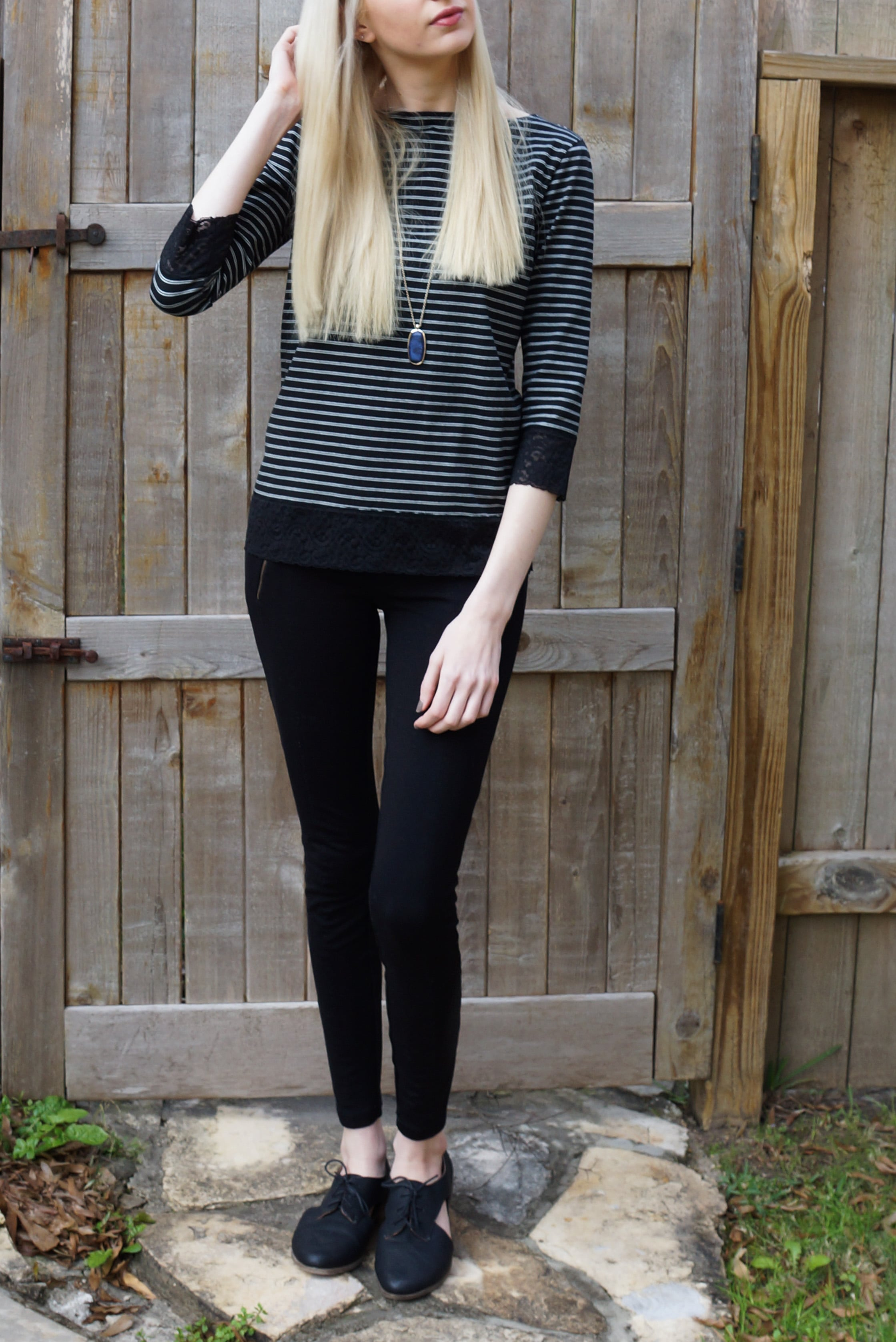 Striped and lace tee, j.crew snap-front pixie pants, cut out oxford flats, loft pendent necklace