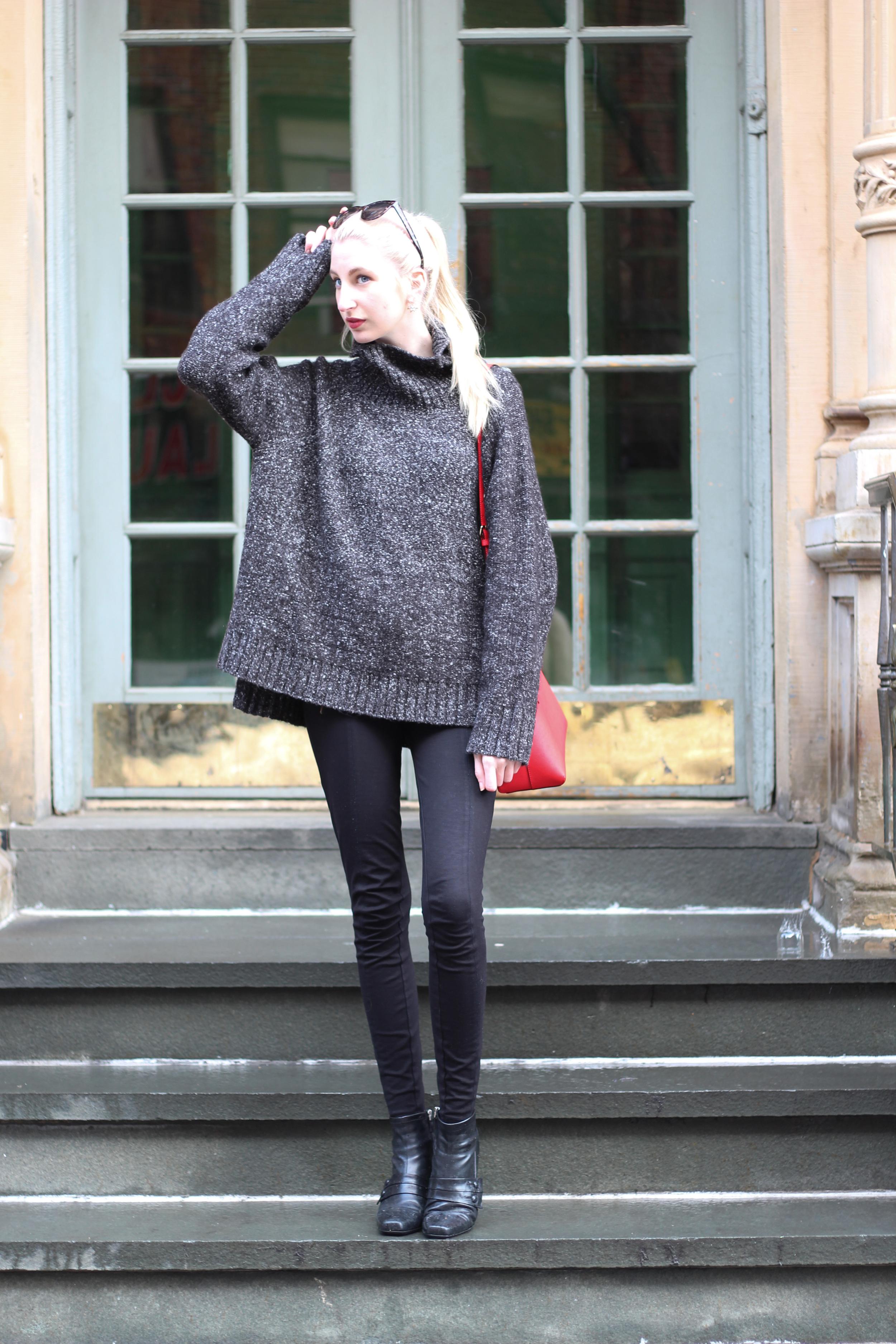 H&M oversized sweater, J.Crew Factory pixie pants, vintage boots, LOFT sunglasses, Elizabeth Arden lipstick, Kate Spade Cedar Street Maise in Cherry Liquer
