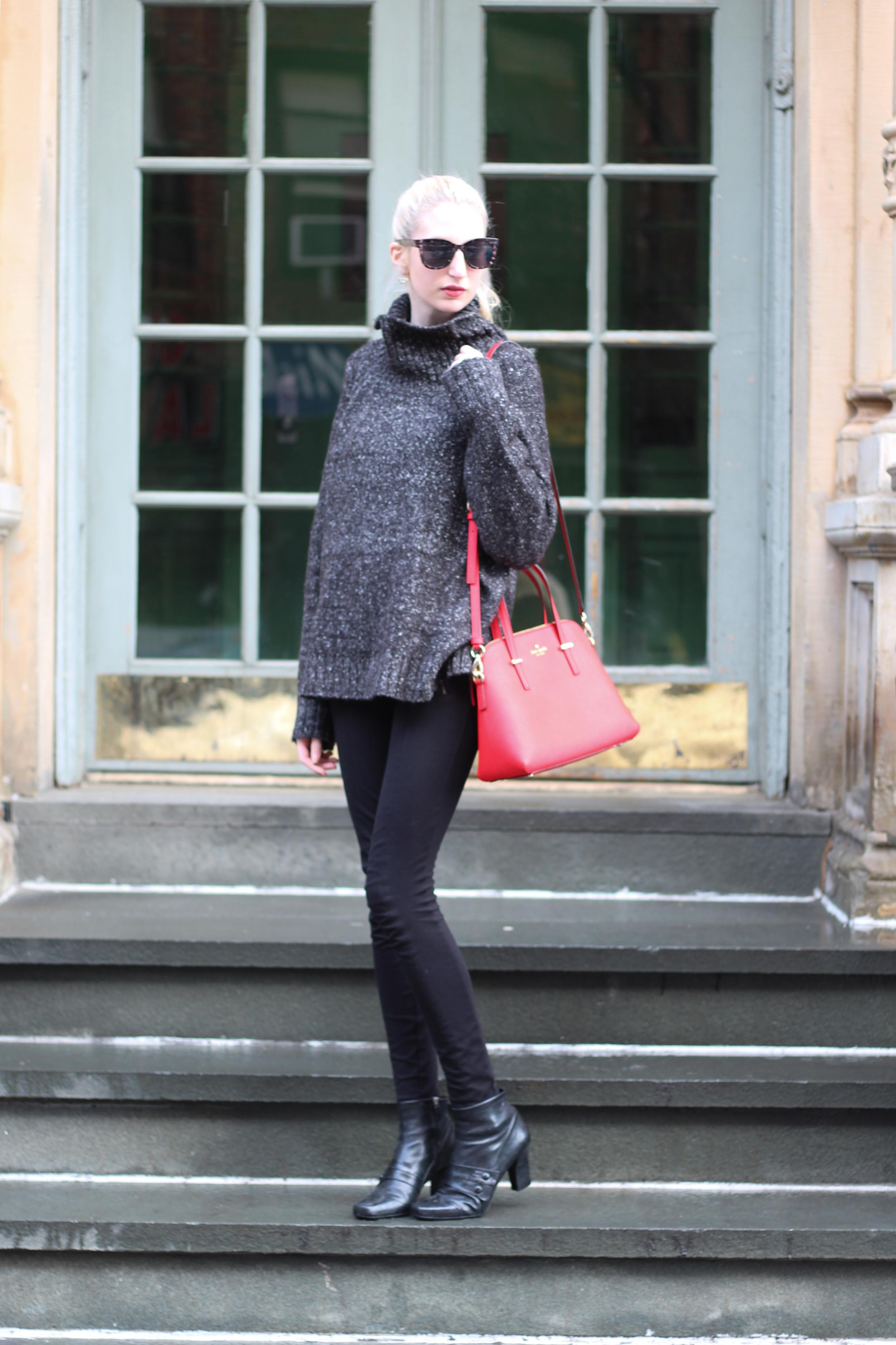 H&M oversized sweater, J.Crew Factory pixie pants, vintage boots, LOFT sunglasses, Elizabeth Arden lipstick, Kate Spade Cedar Street Maise in Cherry Liquer, Stella and Dot Earrings