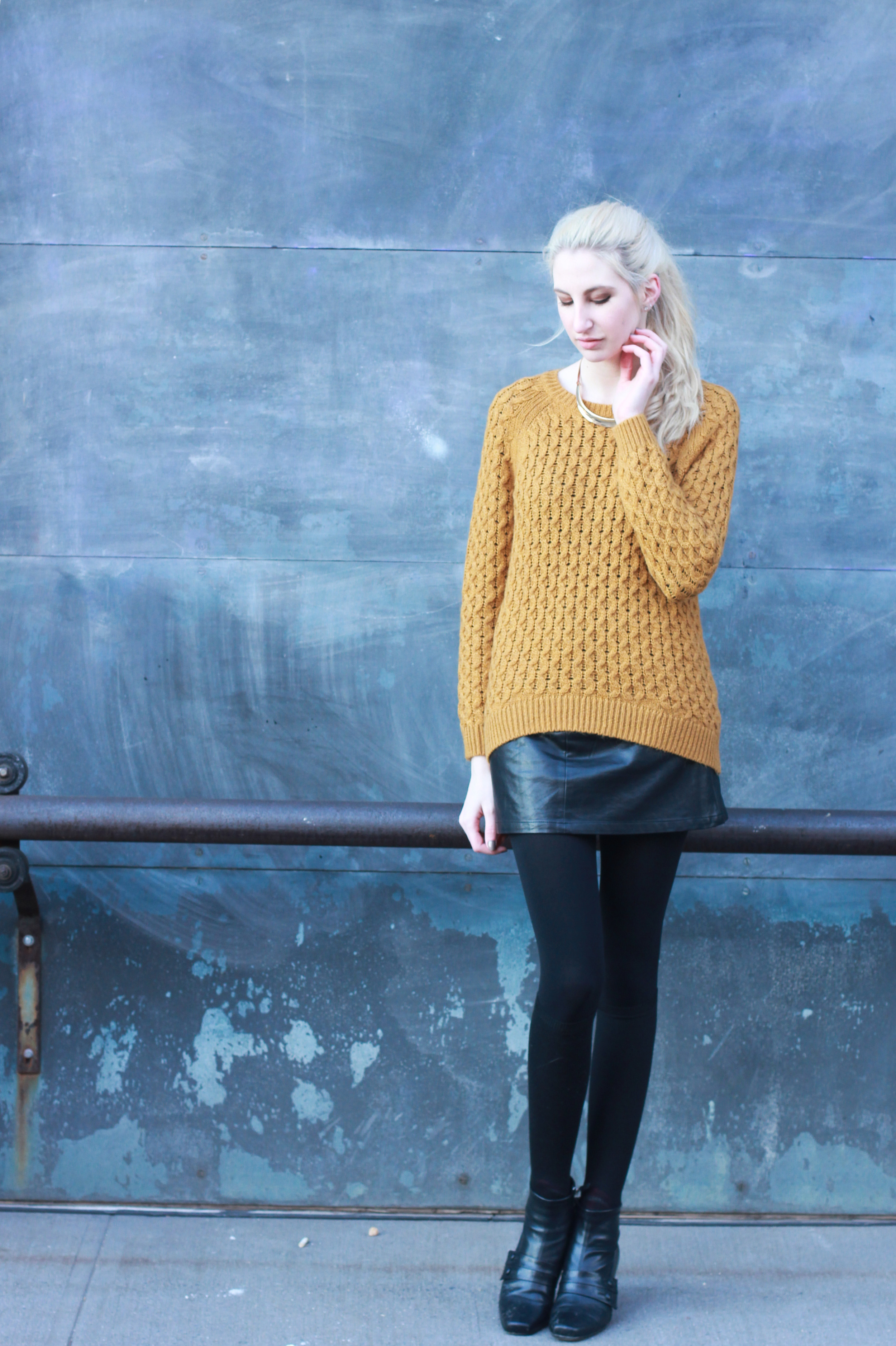 H&M mustard sweater, leather skirt, tights, black heeled  ankle booties, metal necklace - Southern New Yorker - Audra Koch