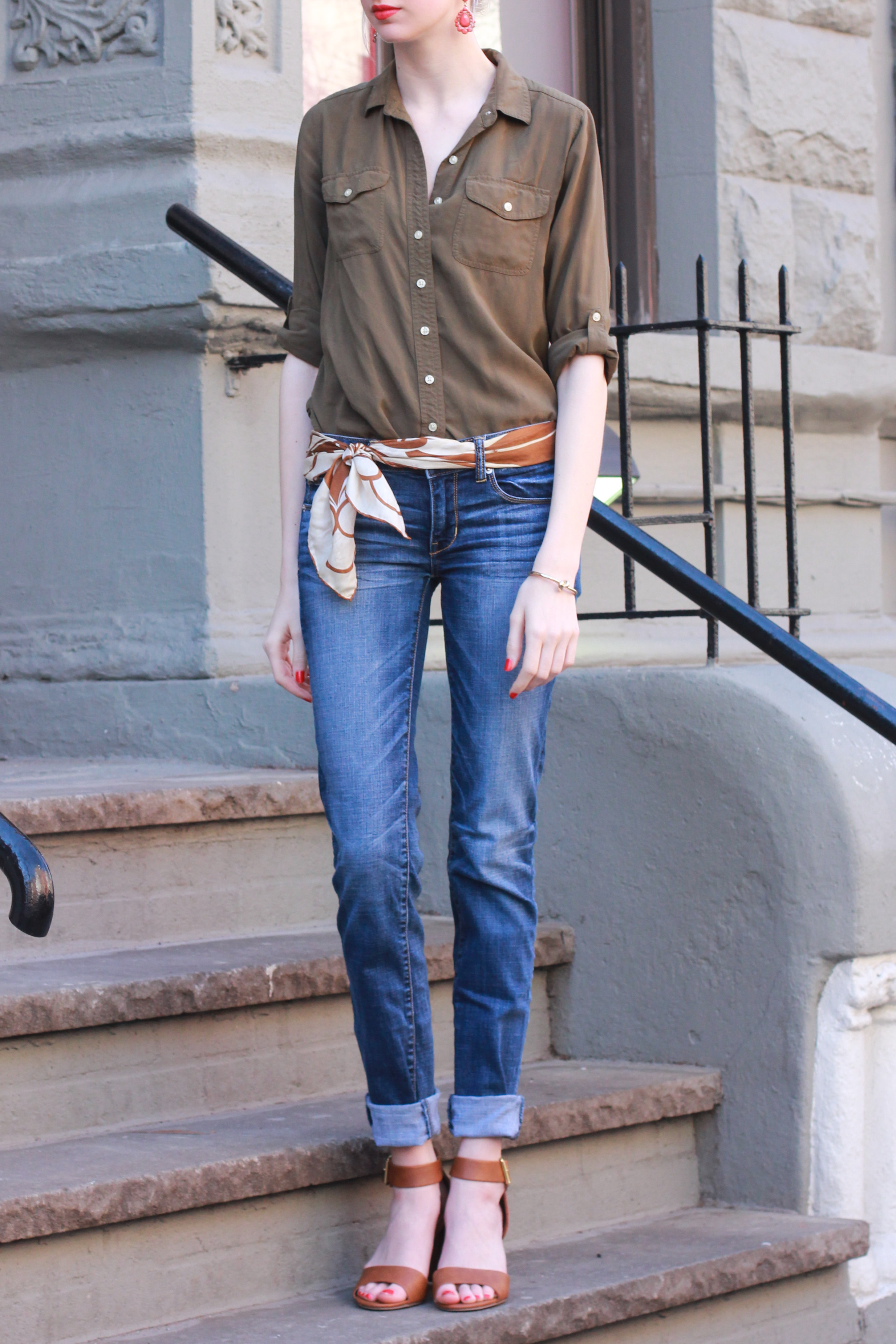 LOFT army green button down, American Eagle jeans, Target merona ankle strap block heel sandals, silk scarf belt, francesas coral earrings, Clinique Color Pop lipstick in poppy pop, Essie nail polish in geranium