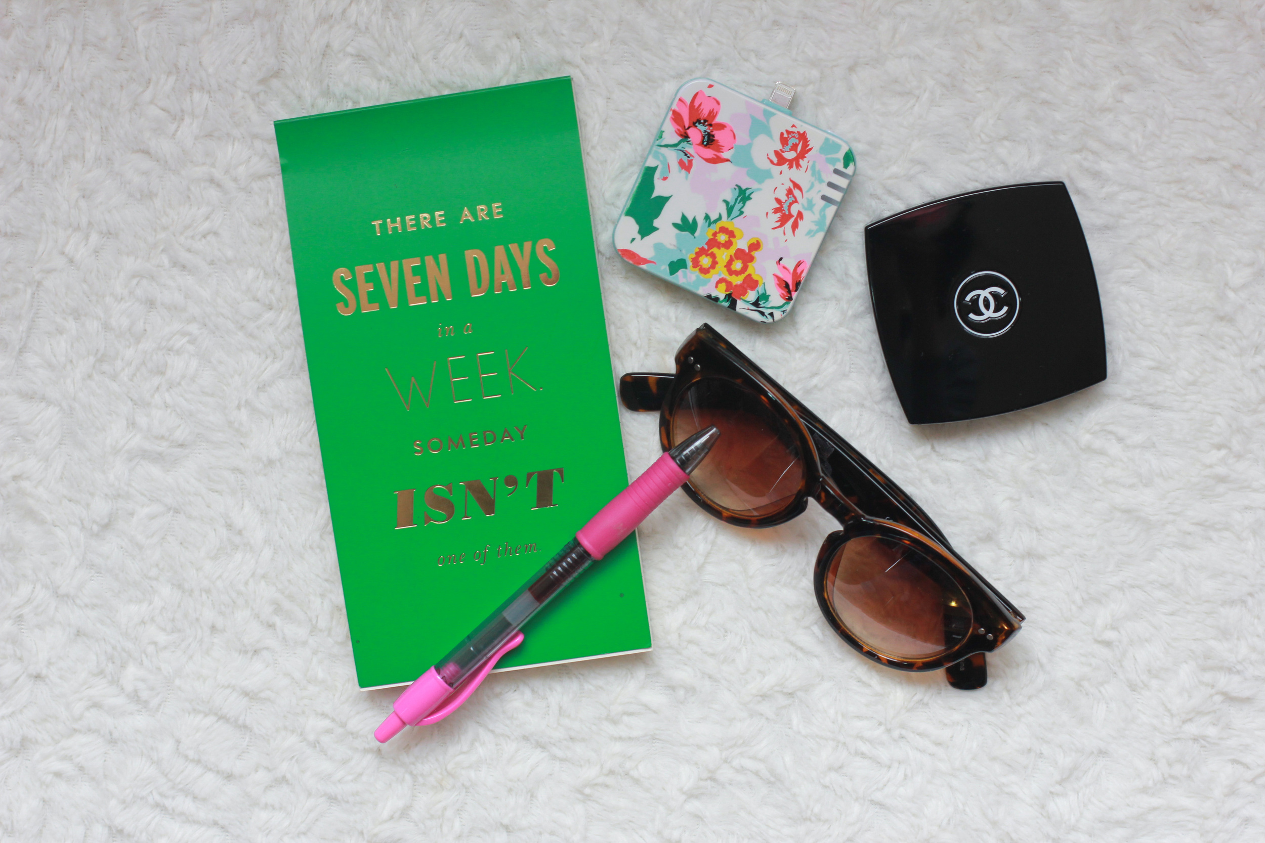 Kate Spade Cedar Street Maise - chanel powder compact, kate spade notebook, kate spade fabric wristlet, ban.do florabunda charger, LOFT sunglasses,