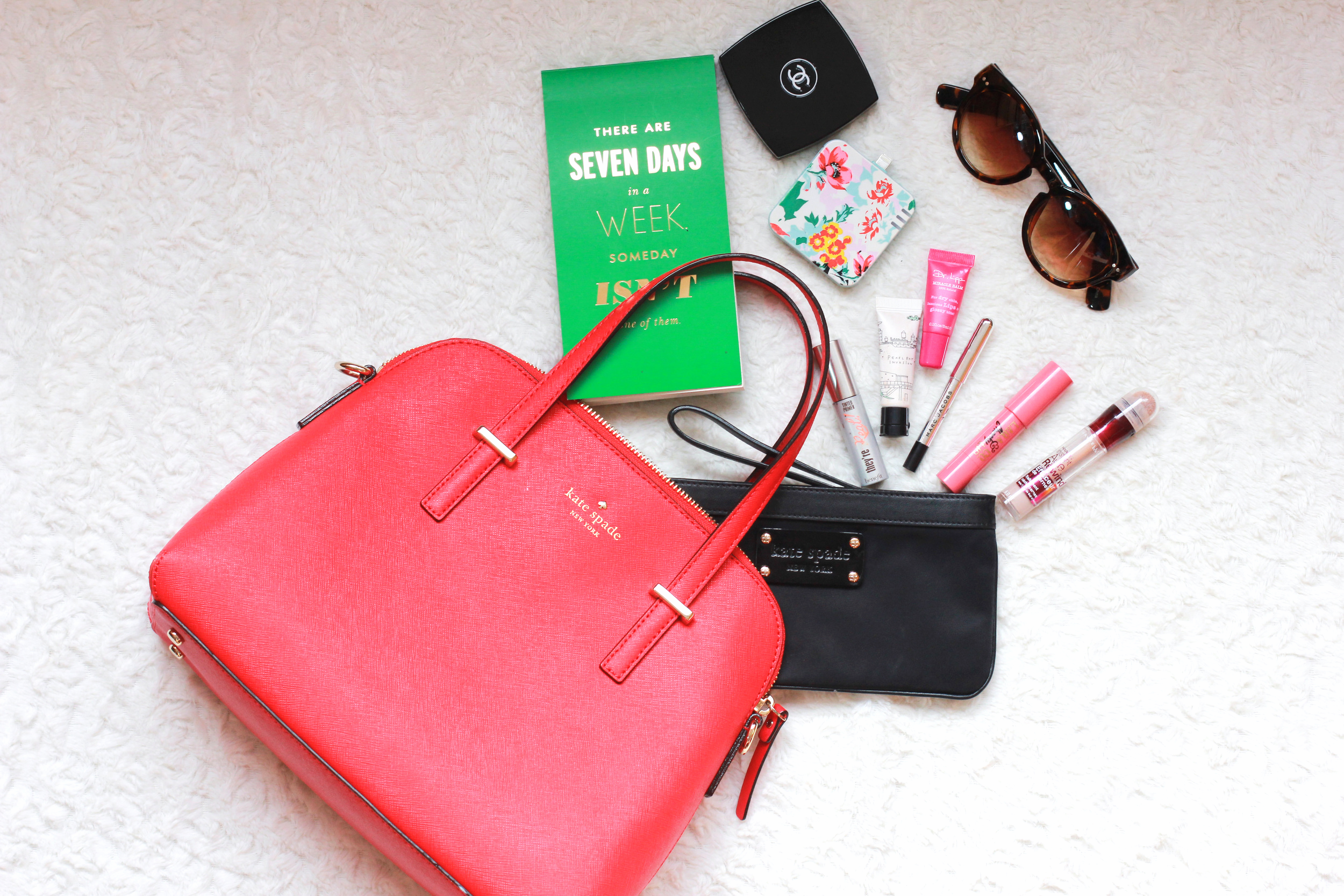 Kate Spade Cedar Street Maise - chanel powder compact, kate spade notebook, kate spade fabric wristlet, ban.do florabunda charger, LOFT sunglasses, Benefit tinted lash primer, Too cool for school highlighter, maybelline age rewind concealer, LAQA & Co cheek and lip stick, marc jacobs eye liner, Dr. Lipp miracle balm