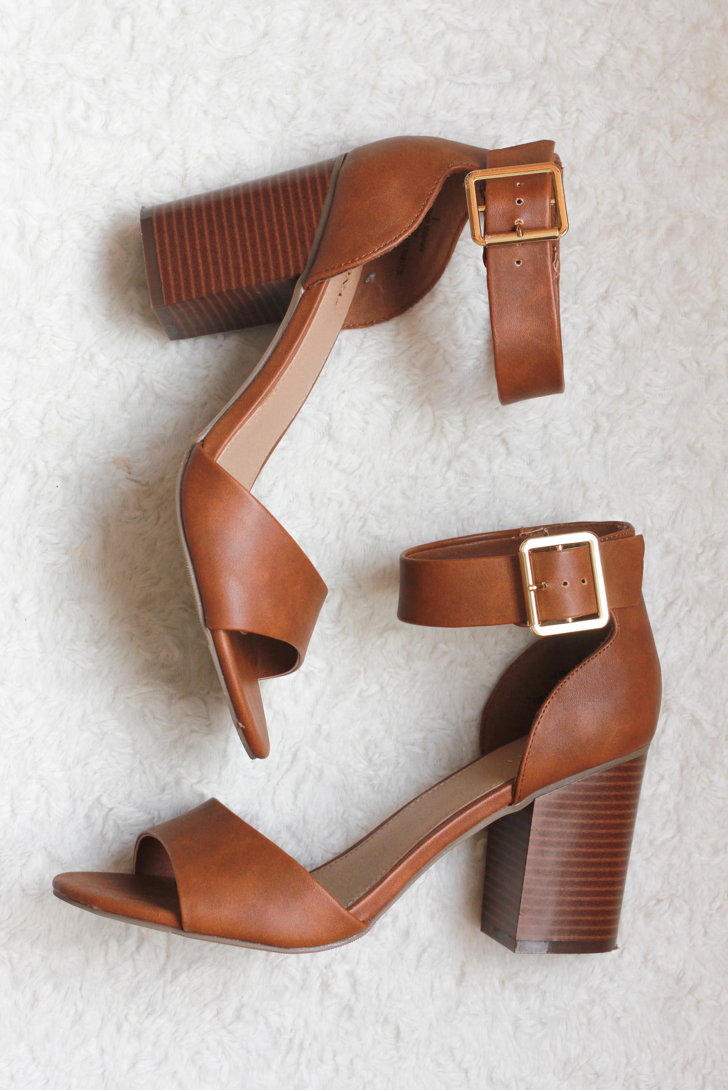 Merona by Target ankle strap block heel cognac brown sandals