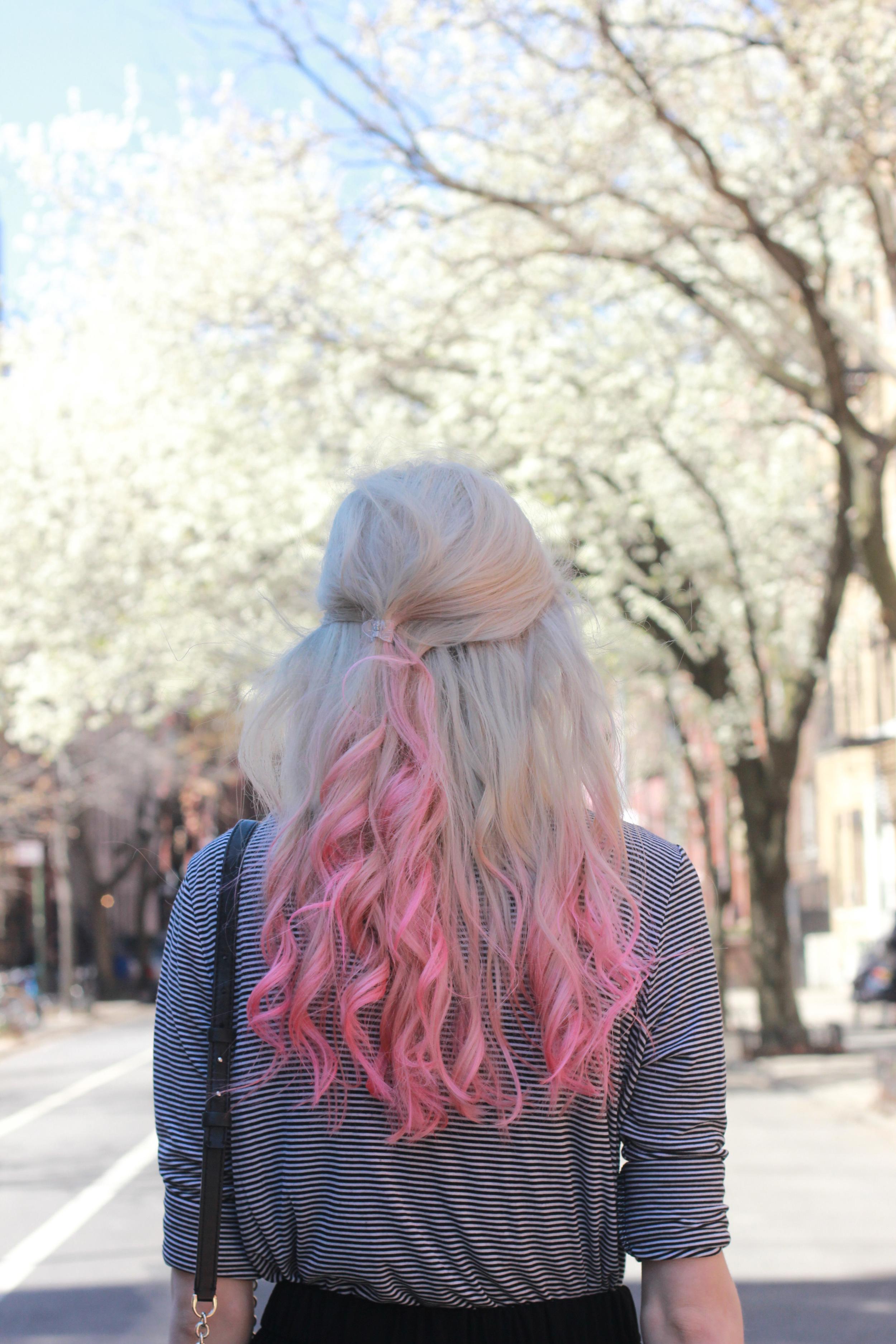 platinum blonde pink ombre hair
