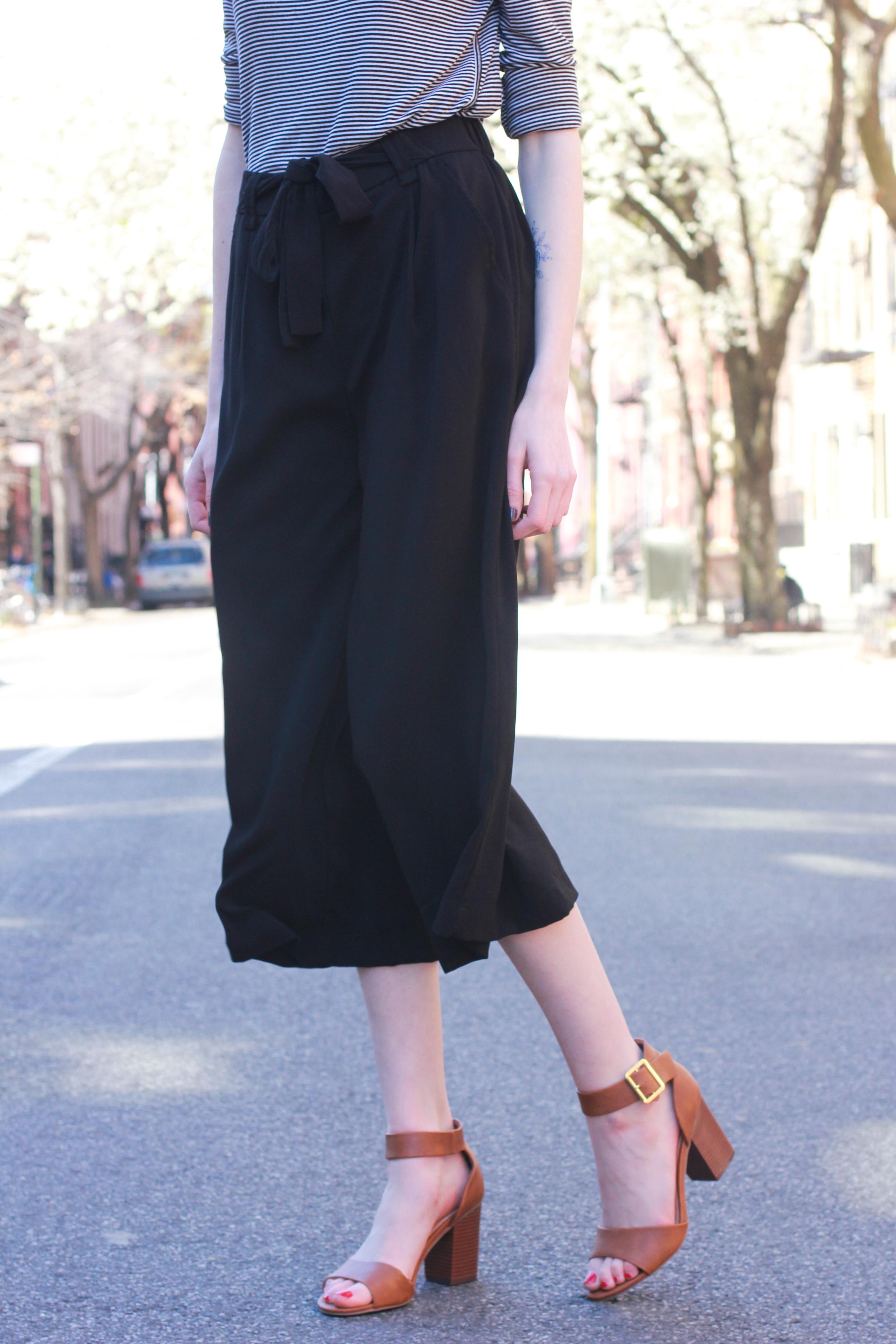 LOFT striped longsleeve top, Zara black high waisted culottes, Target brown black heel sandals, J.Crew tortoiseshell statement necklace, DVF micro milo crossbody bag