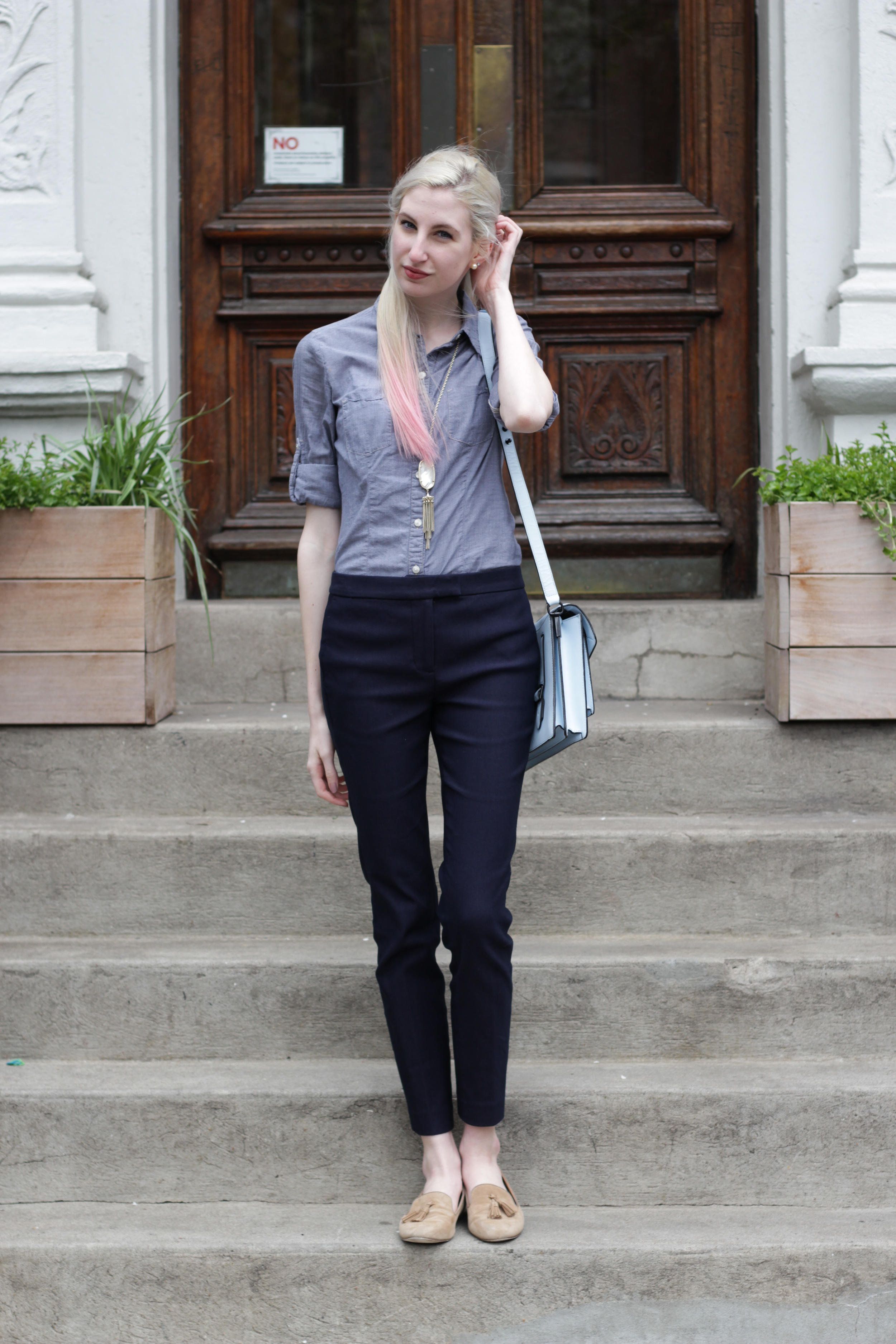 Chambray button down, J.Crew navy Ryder pants, J.Crew Factory tassel Cora loafers, Loeffler Randall bag, kendra scott rayne necklace in opal