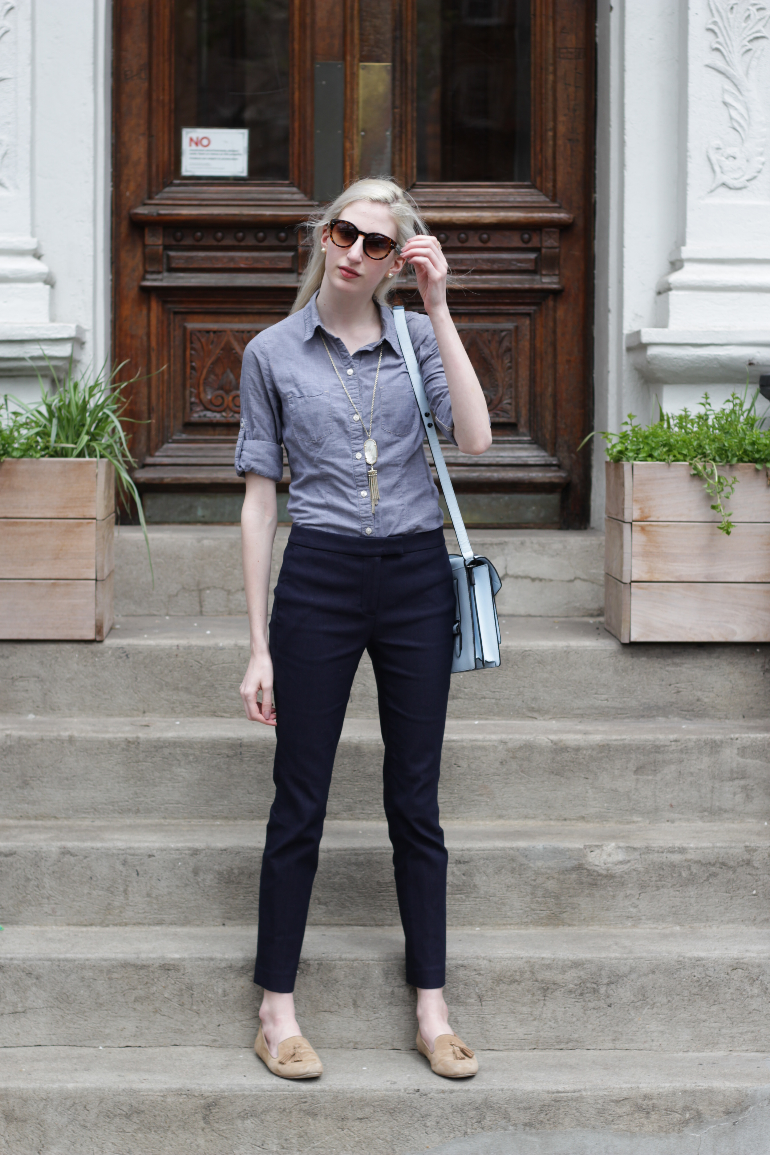 Chambray button down, J.Crew navy Ryder pants, J.Crew Factory tassel Cora loafers, Loeffler Randall bag, kendra scott rayne necklace in opal, LOFT tortoise sunglasses