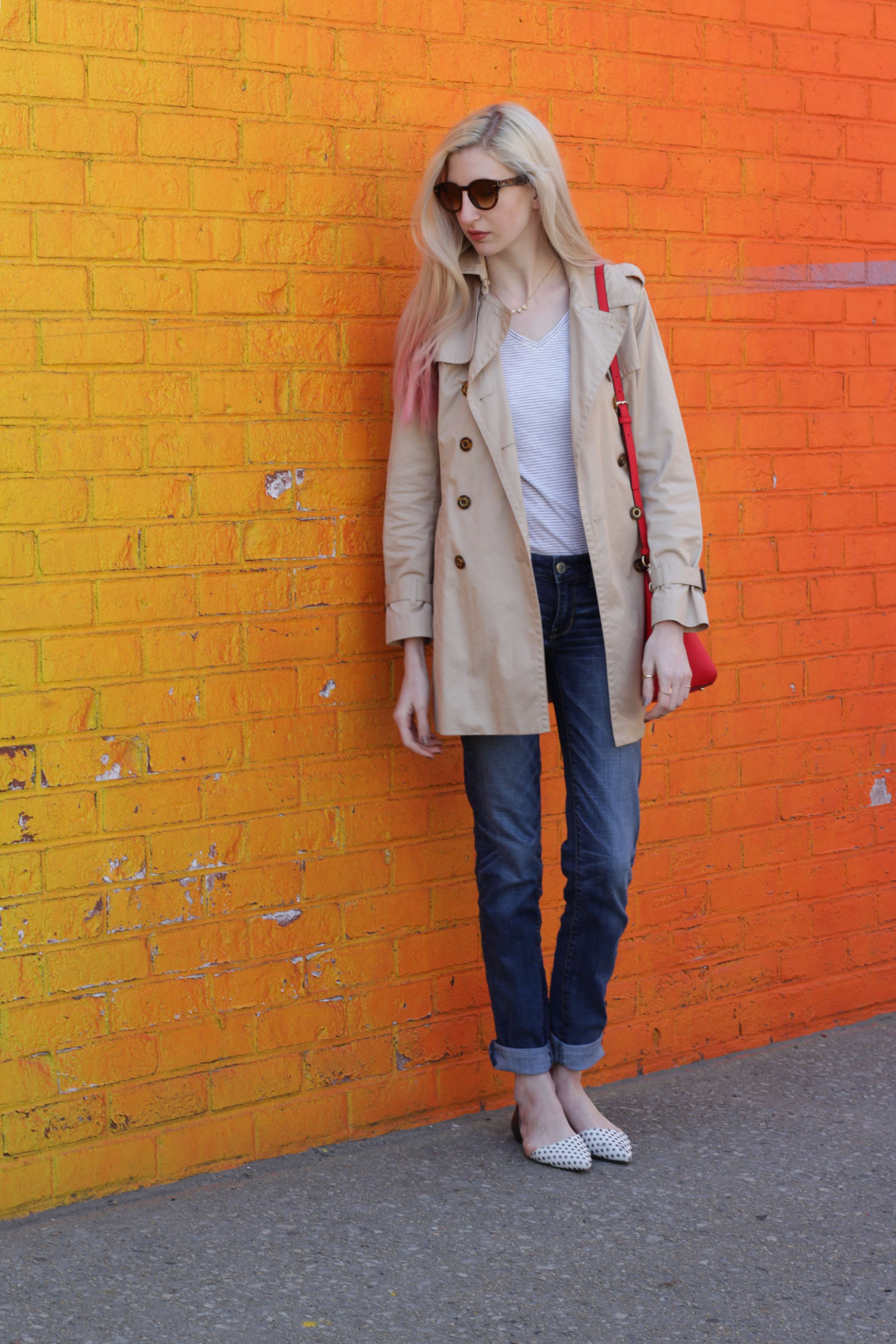 American Eagle jeans, LOFT striped v-neck tee, Banana Republic trench coat, LOFT pointed-toe d'orsay flats, Kate Spade Cedar Street Maise - Audra Koch - Southern New Yorker
