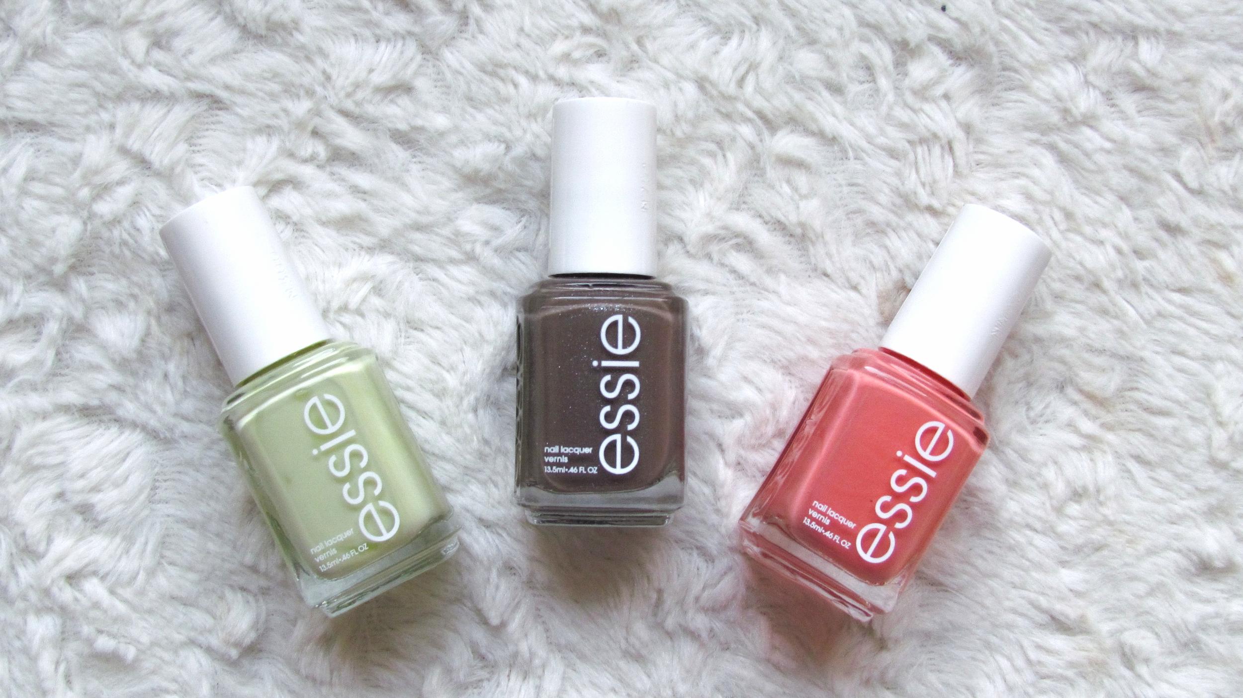 April Favorites - Essie nail polish in Tart Deco, Mochachino, and Chillato