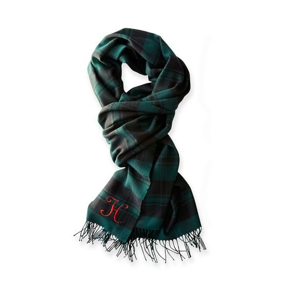 Mark & Graham hunter green monogrammed plaid scarf - Southern New Yorker