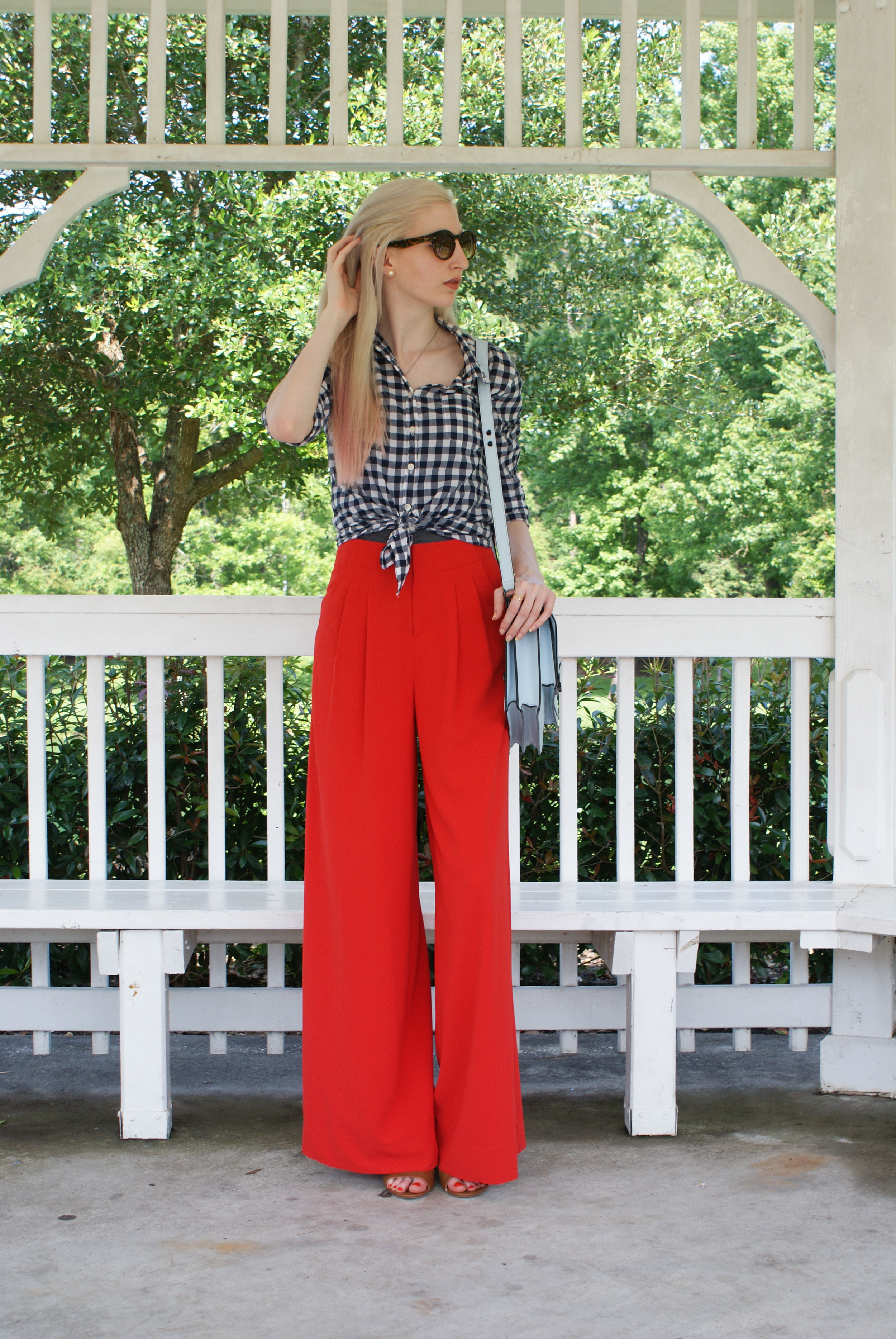 Alice & Olivia orange wide leg pant, jcrew button down in navy gingham - Southern New Yorker