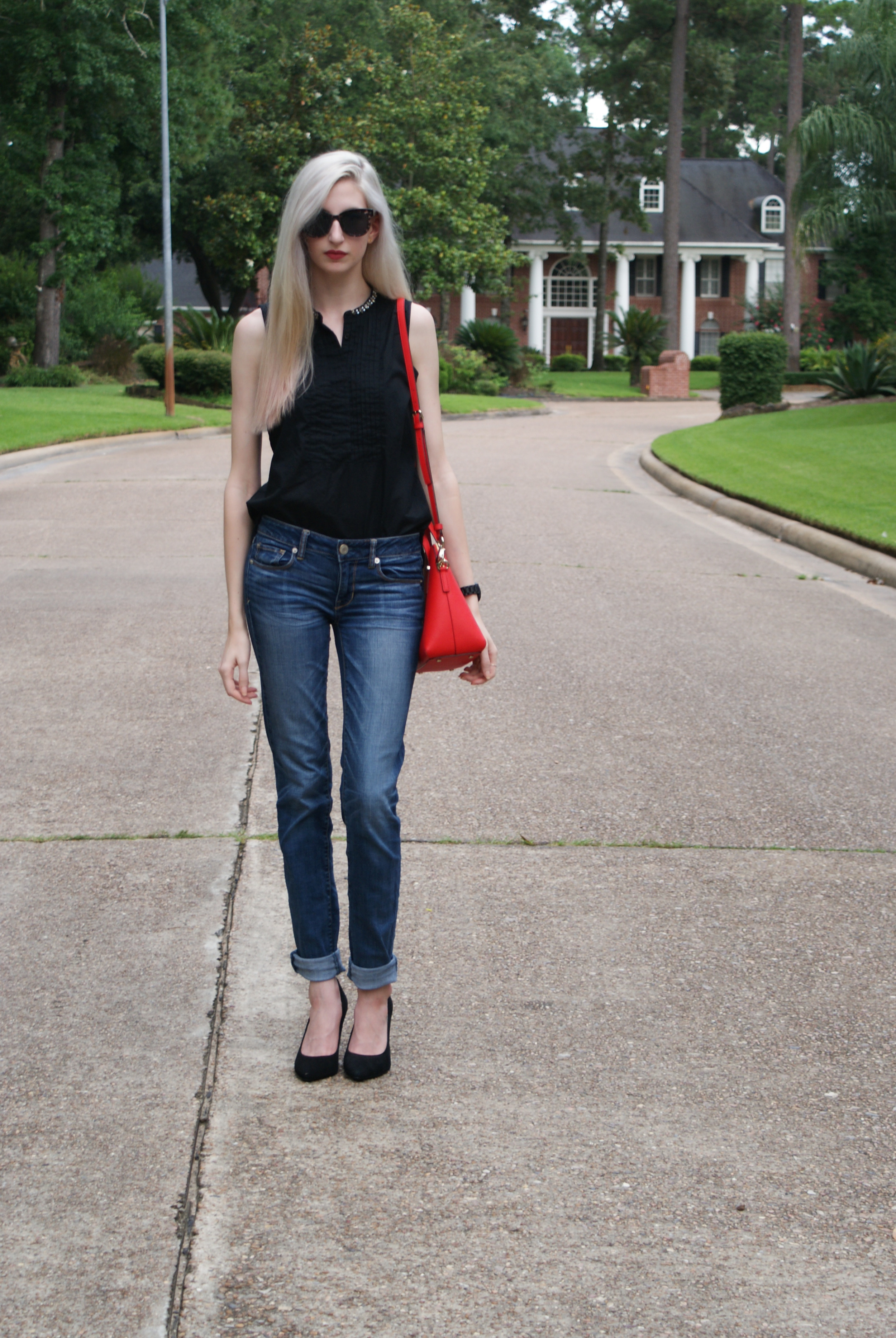 Top -  Similar  / Jeans -  American Eagle  / Shoes -  Similar  / Watch -  JORD Watches  / Bag -  Kate Spade  /