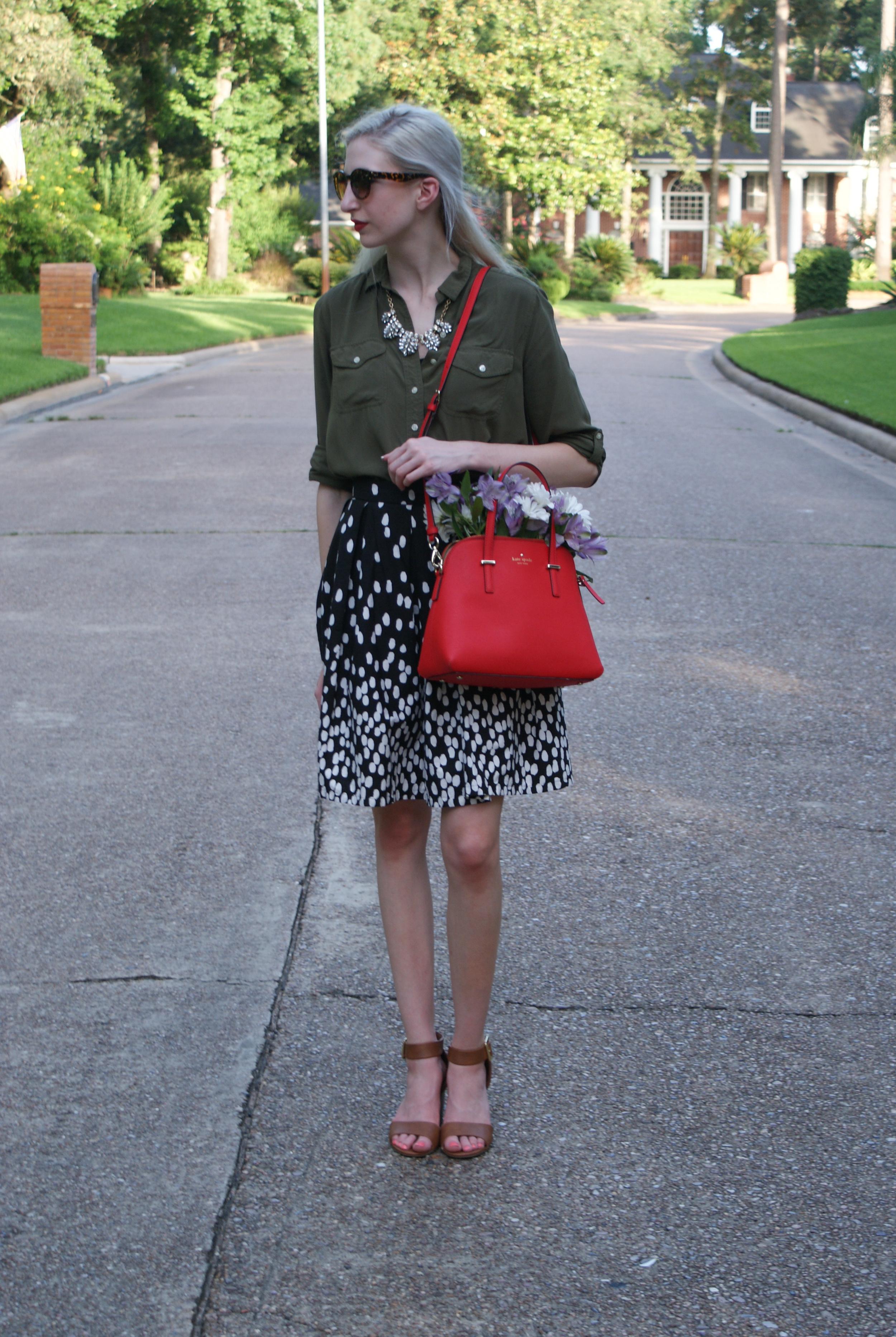 Top -  similar  / Skirt -  similar  / Shoes -  Target  / Necklace -  similar  / Lipstick -  Urban Decay  (F-Bomb) / Handbag -  Kate Spade  /