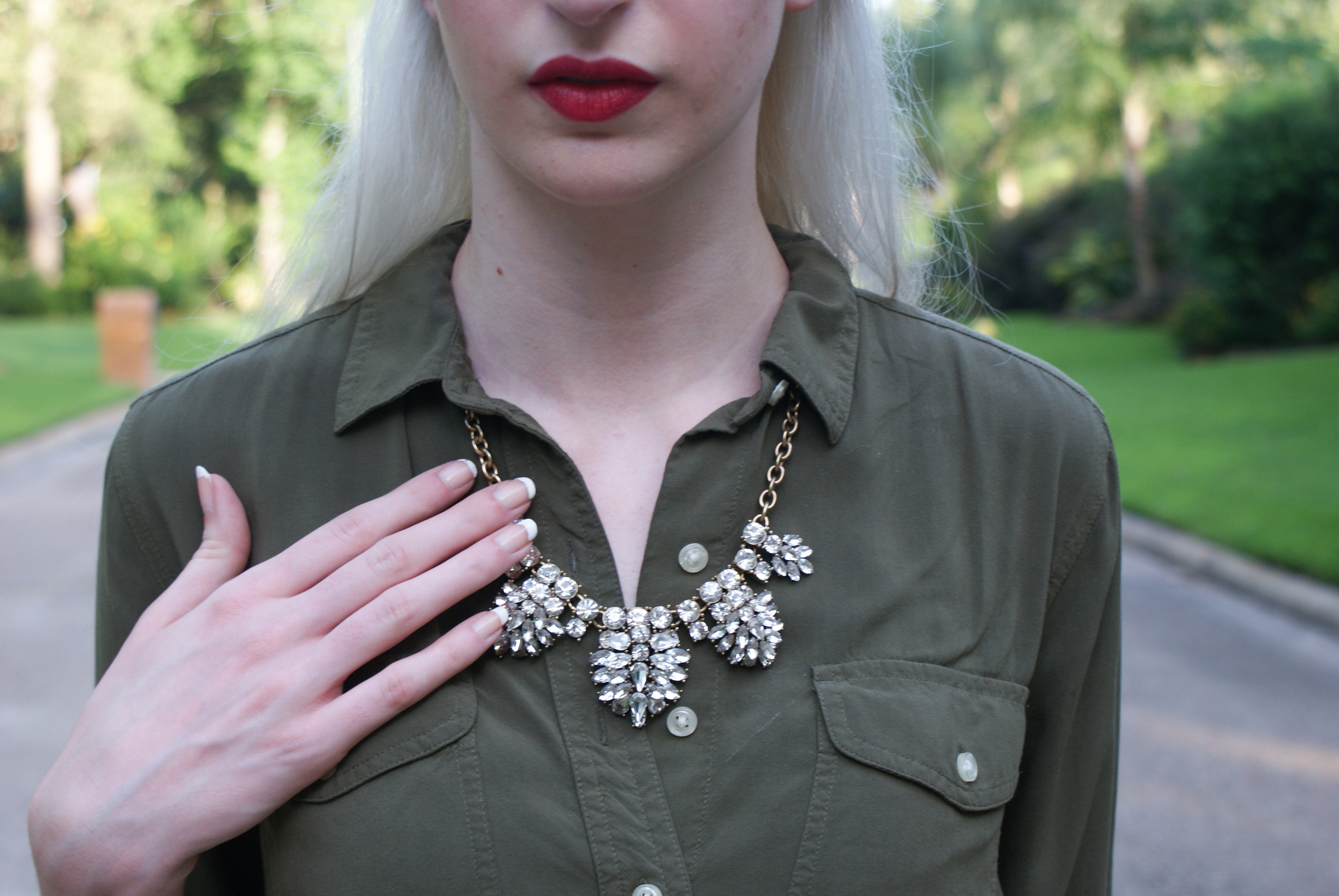 LOFT Army Green button down, J.Crew crystal statement necklace, brown block heel sandals, Kate spade cedar street maise, Urban Decay lipstick in F-Bomb