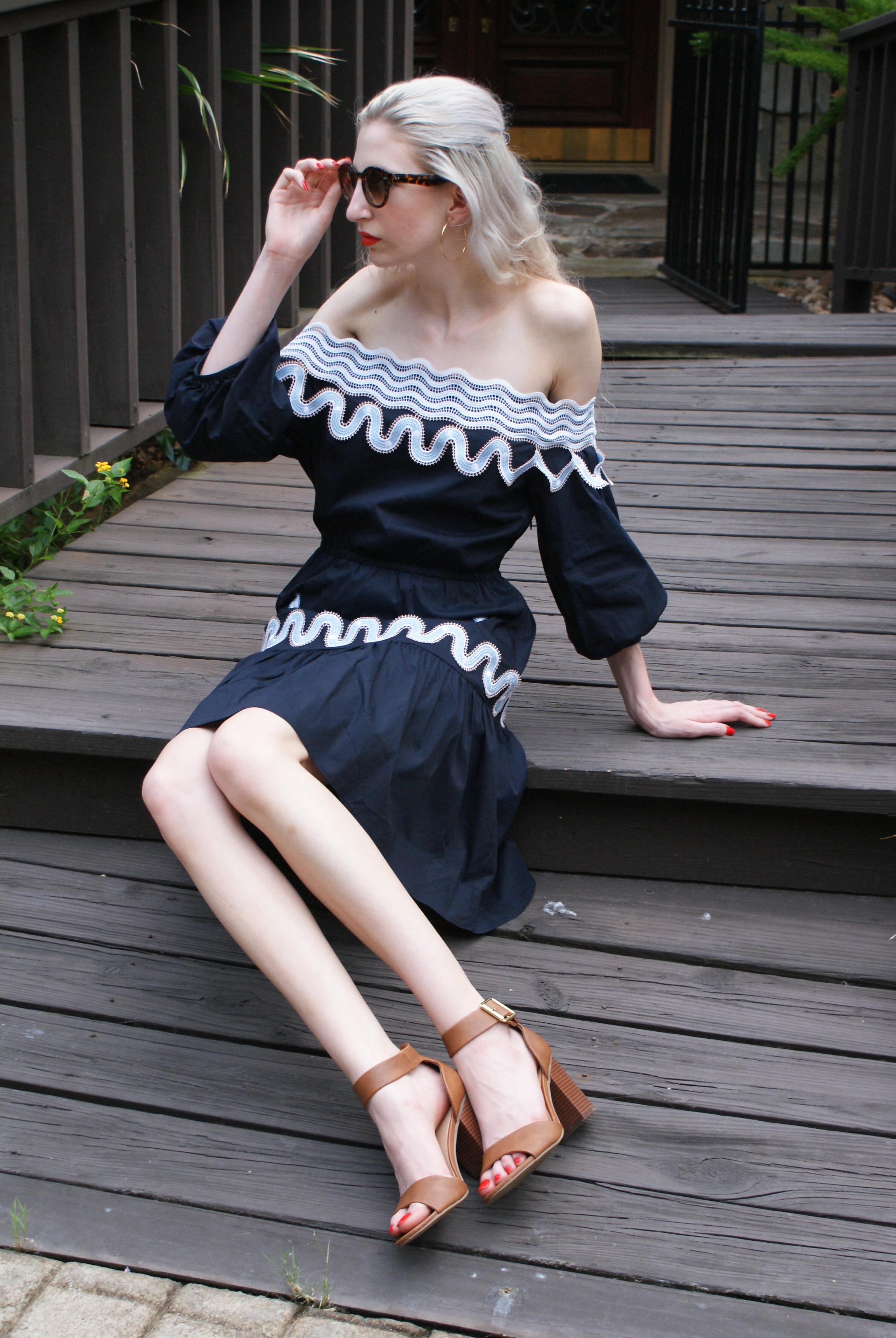 Peter Pilotto dress, block heel sandals, francescas hoop earrings, Kat Von D lipstick in a go go, glossier haloscope in rose quartz,