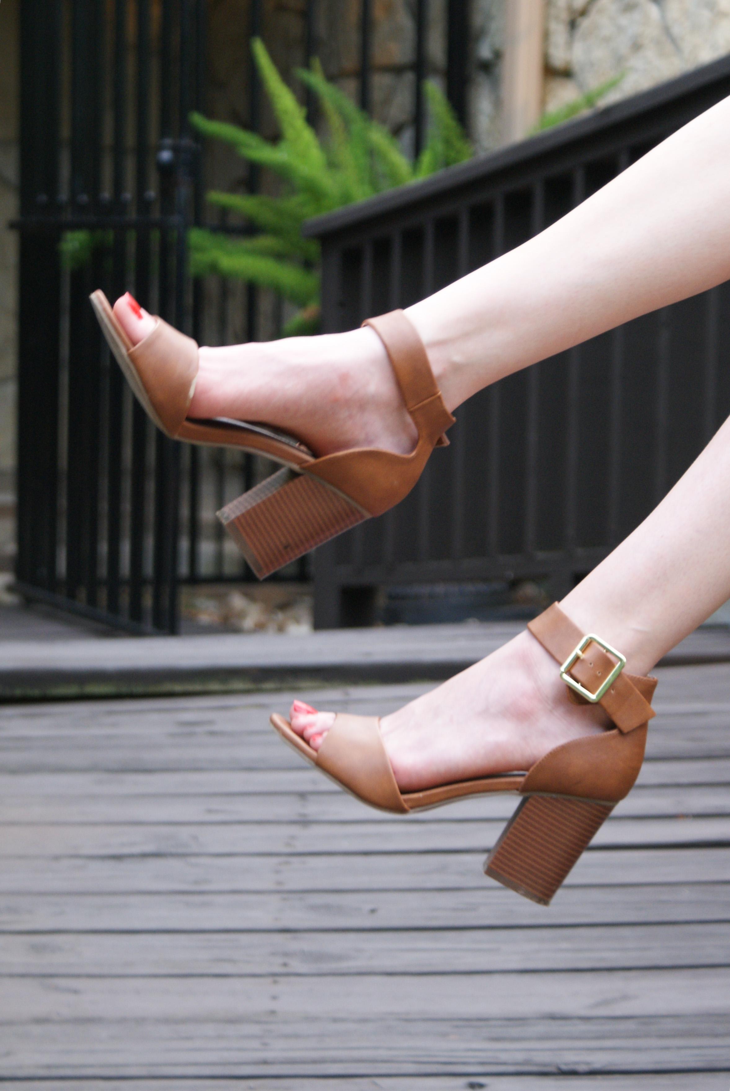 brown block heel sandals
