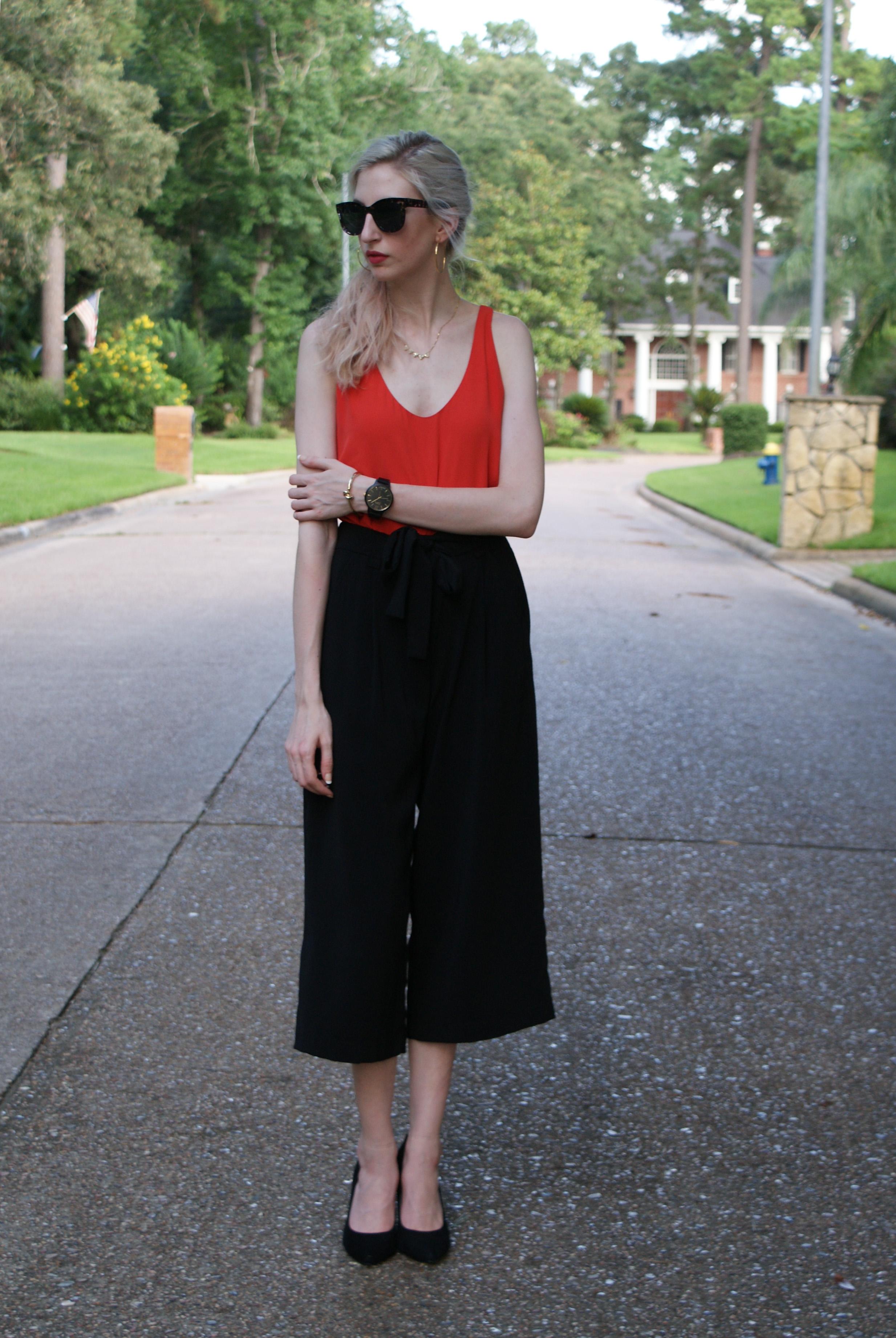 LOFT orange dress, zara culotte cropped wide leg pants, black suede pointed toe pumps, gold hoops, revlon hd matte lipstick