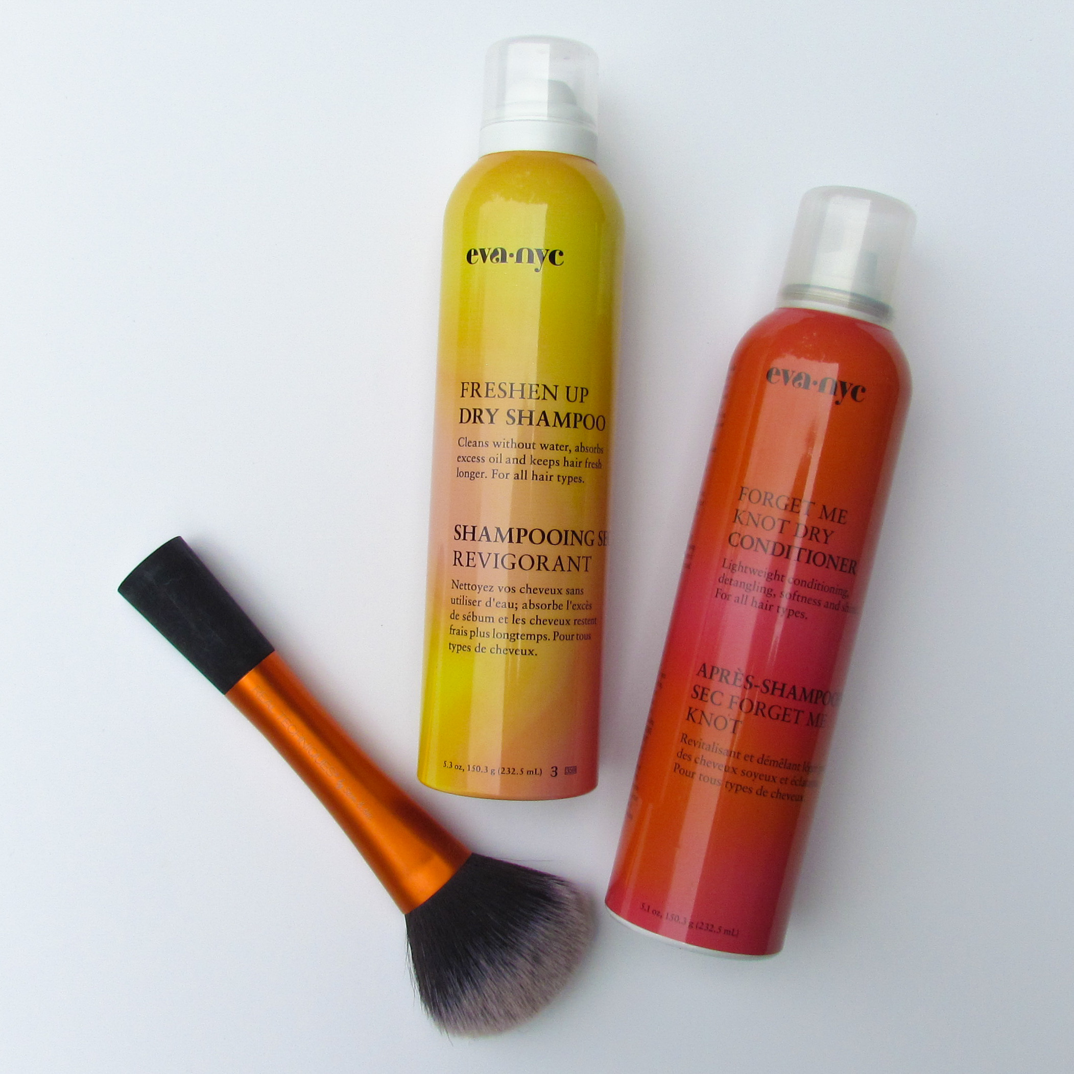 Eva NYC dry shampoo and dry conditioner, and real techniques powder brush