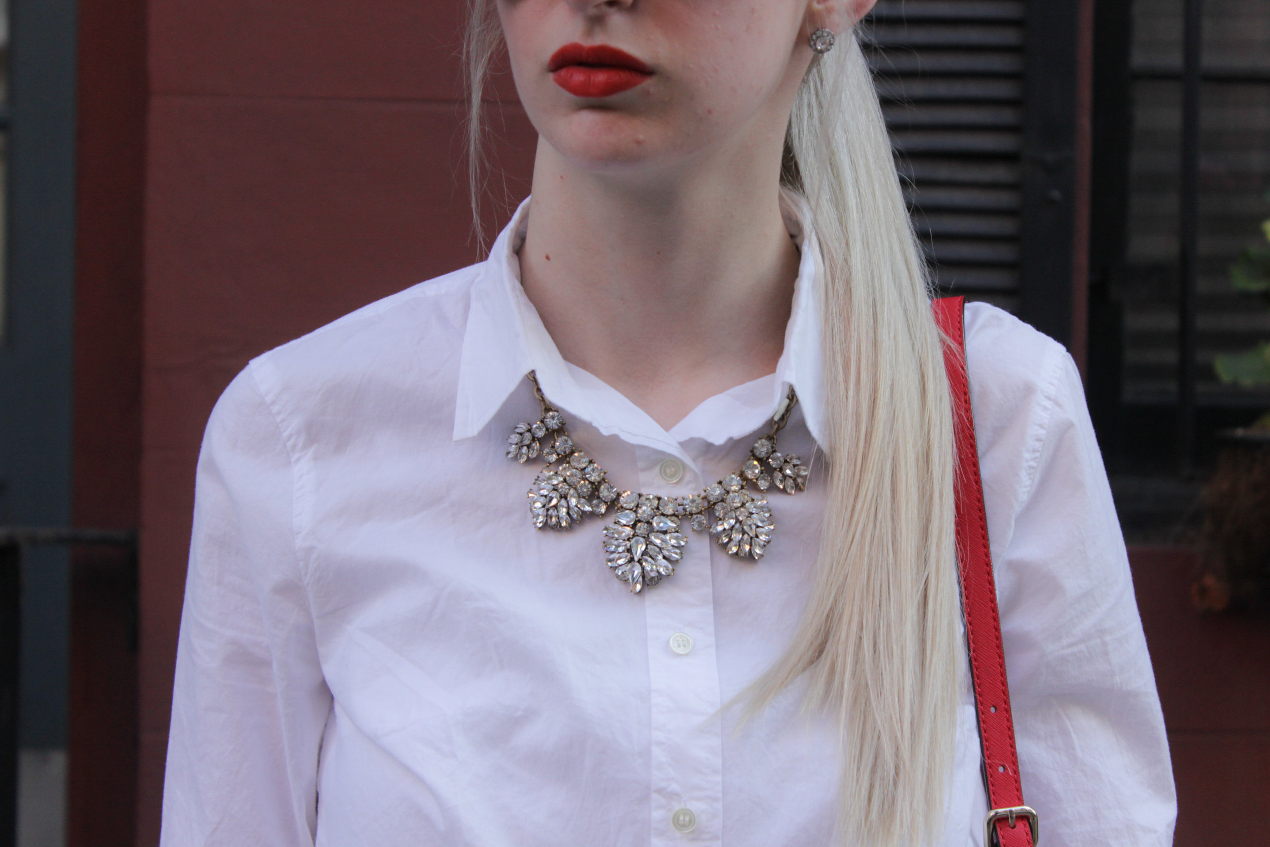 American Eagle relaxed skinny jeans, J.Crew white boy button down, tan heeled sandals, J.Crew crystal statement necklace, Kate Spade Cedar Street Maise, Kat Von D Lipstick in A go go
