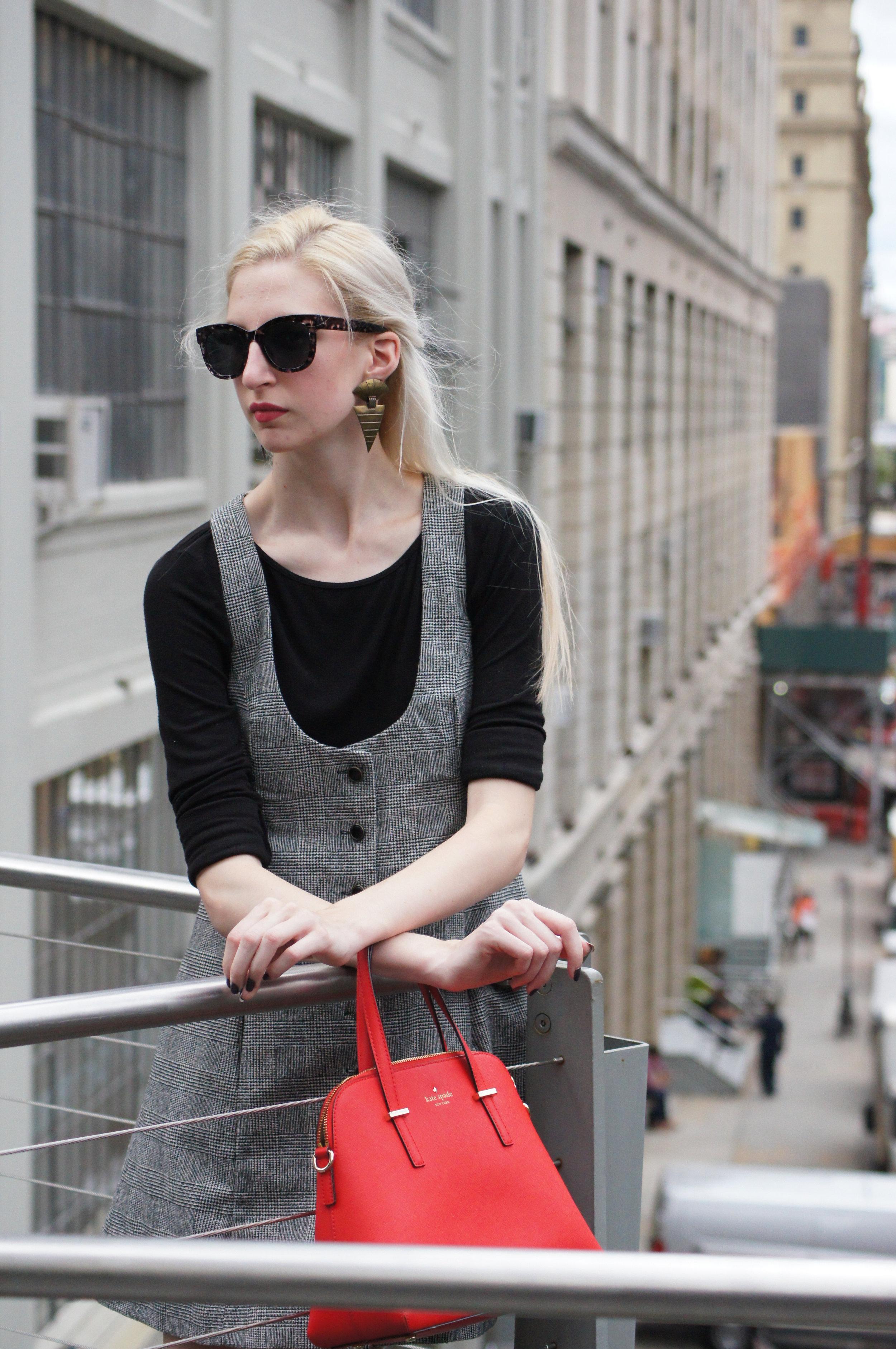 vintage tibi tweed apron dress, loft black longsleeve, Next black heeled ankle boots, kate spade cedar street maise, vintage earrings, loft audrey hepburn sunglasses - Highline Park New York City