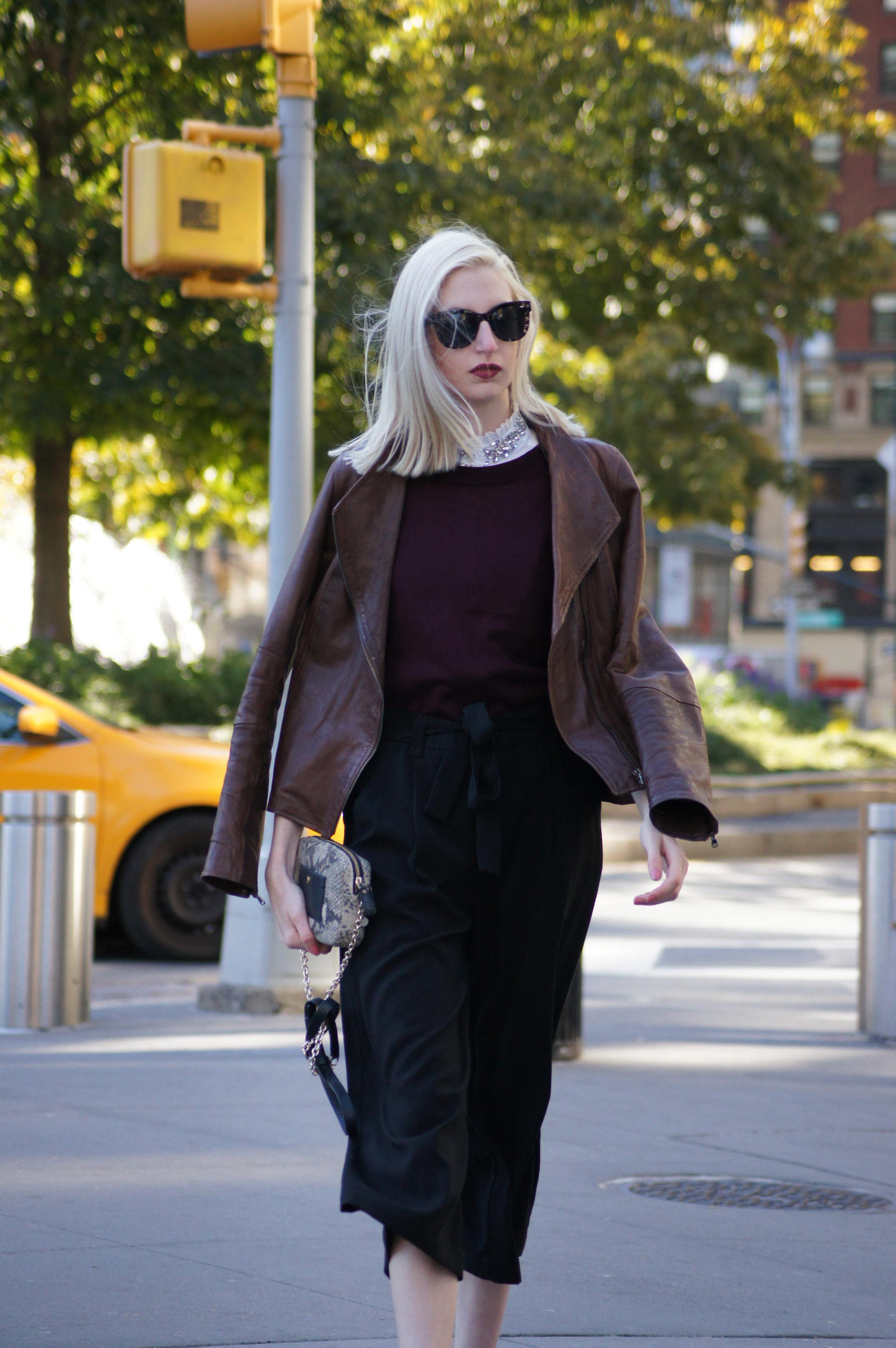 J.Crew embellished ruffle collar shirt, J.Crew burgundy Tippi sweater, Zara black high waist culottes, black block heel ankle boots