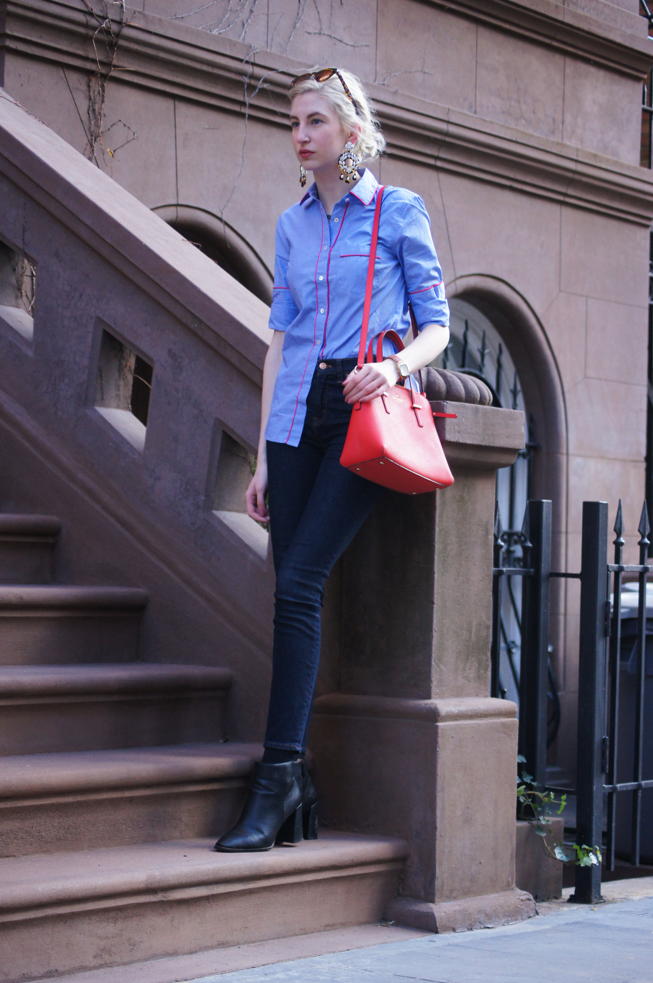 J.Crew tipped pajama shirt, lookout high rise jeans, black block heeled booties, kate spade cedar street maise, J.Crew statement earrings, upper west side NYC