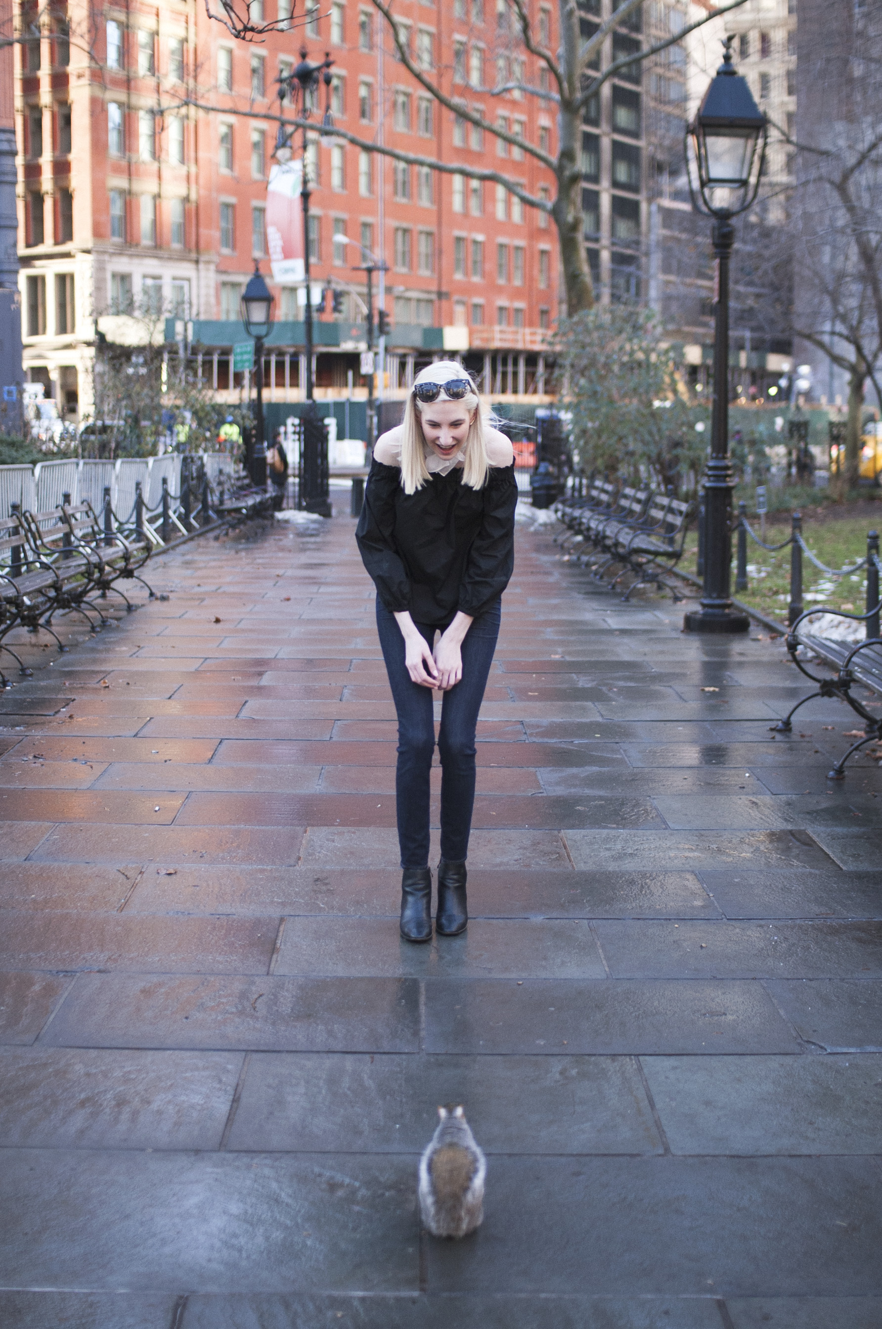 Audra Koch - City Hall Park NYC - J.Crew black longsleeve off the shoulder top, lookout high rise jeans, black block heel ankle boots, white bandana neck scarf, ear crawlers from Rocksbox