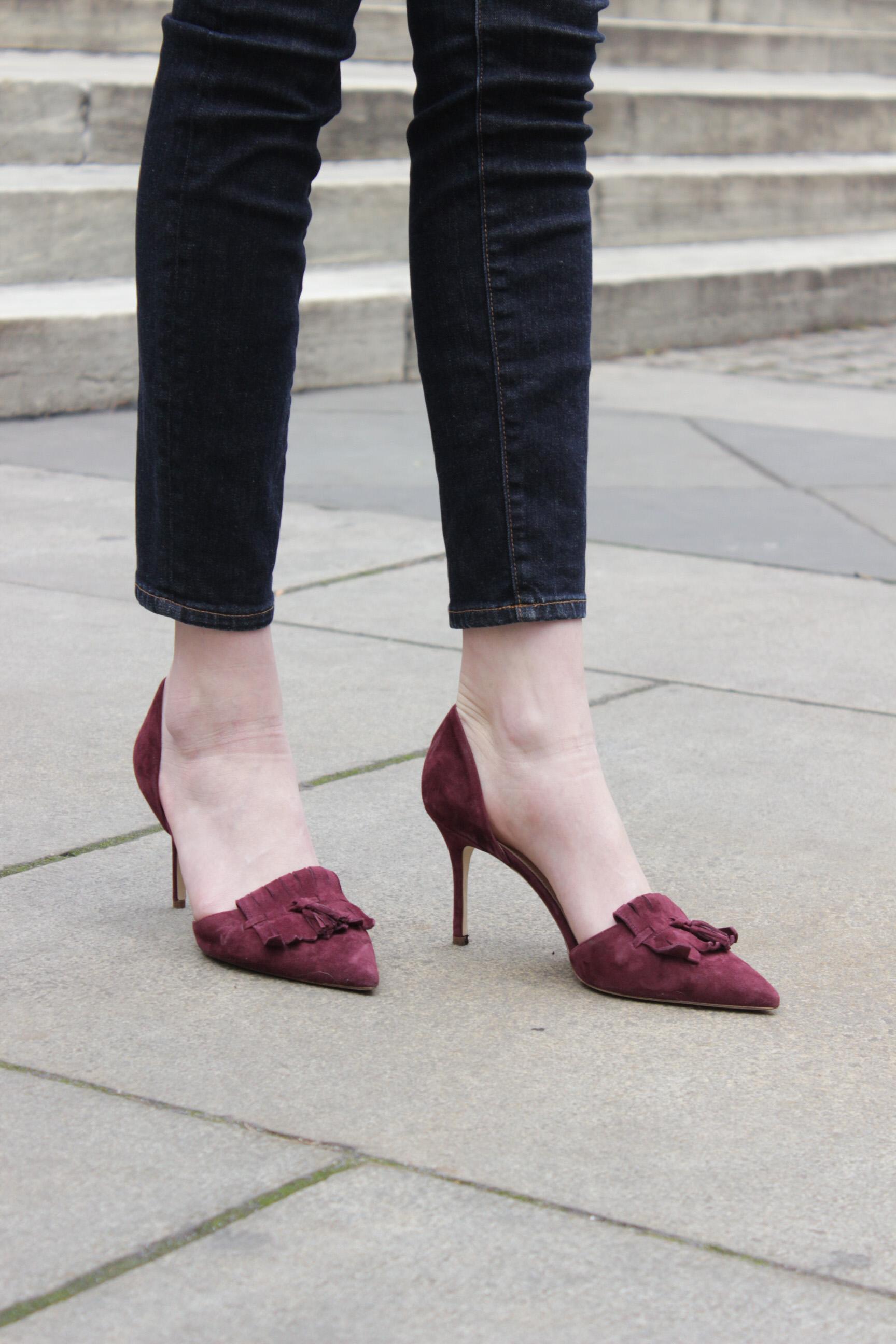 J.Crew d'orsay chambray cabernet heels