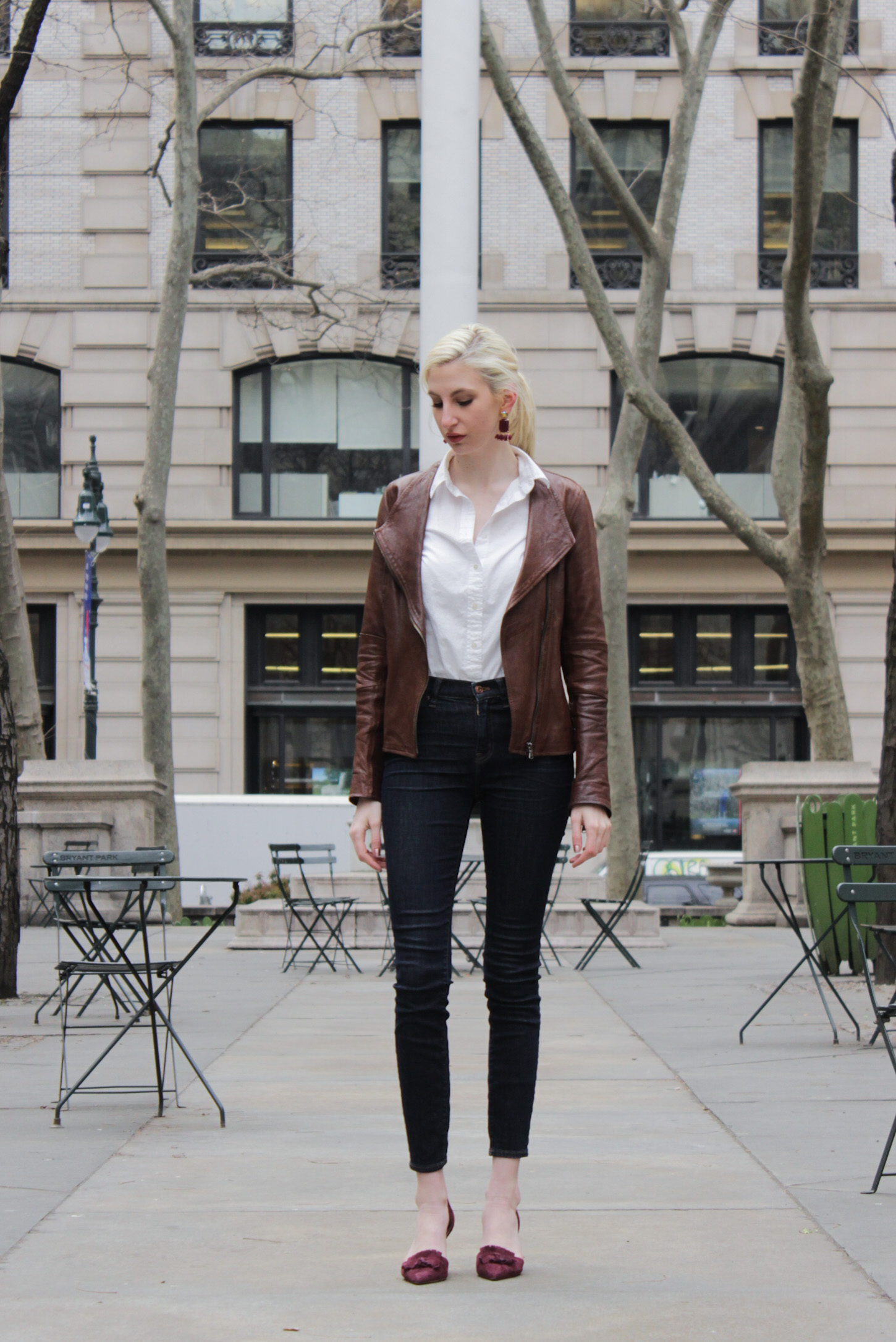J.Crew button down, lookout high rise jeans, burgundy d'orsay fringe heels