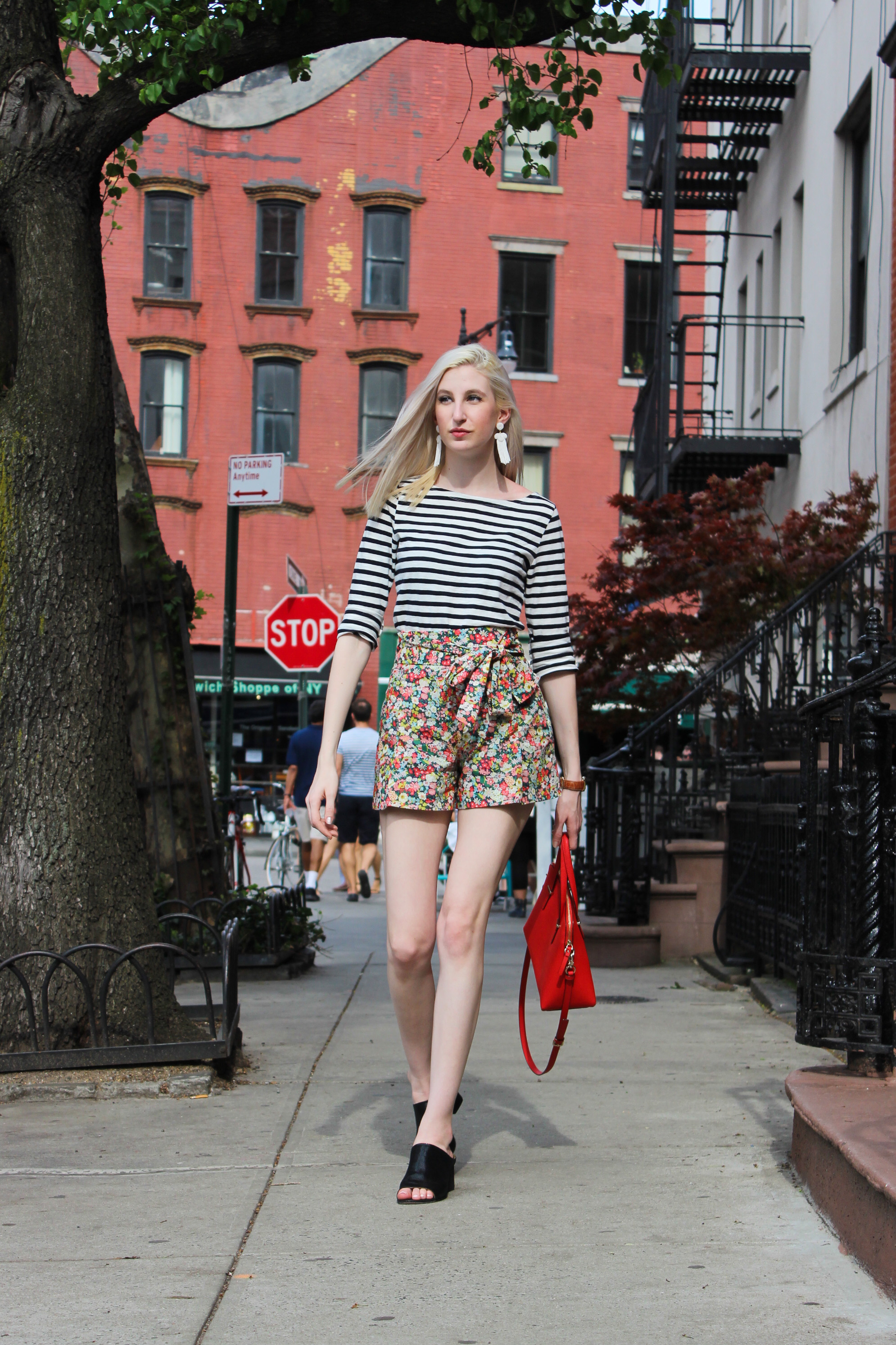 J.Crew deck stripe t shirt, Liberty floral bow shorts, donald j pliner black block helled mules, kate spade cedar street maise handbag