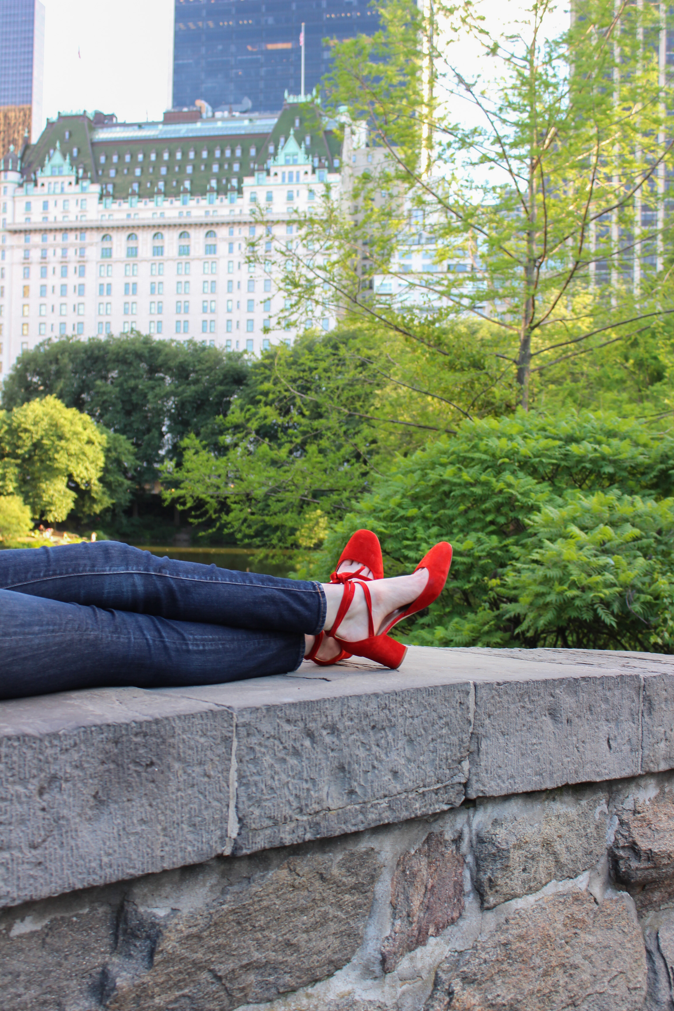 red block heel ankle wrap pumps, Central Park