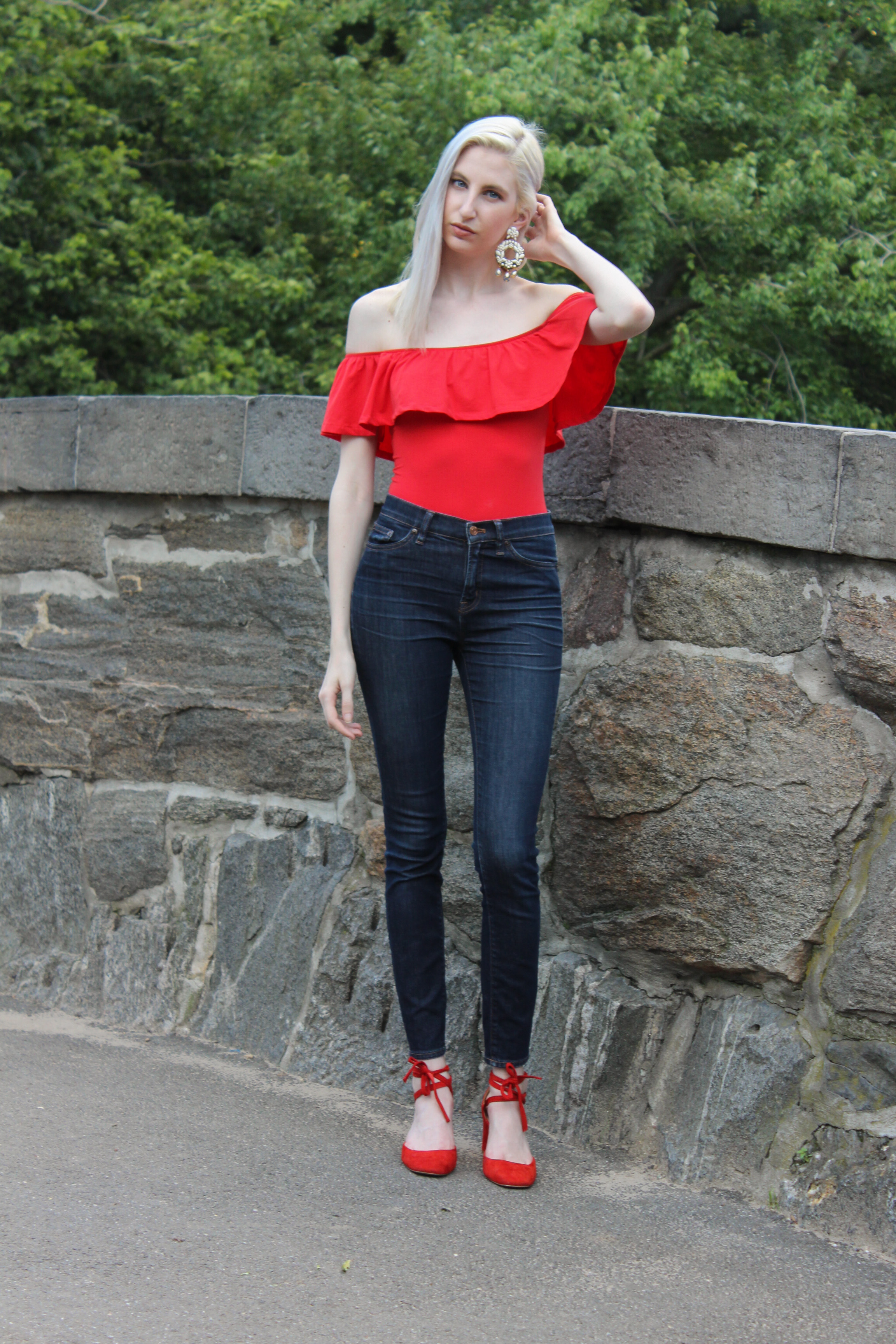J.Crew ruffle off the shoulder bodysuit, high rise jeans, red block heel ankle wrap pumps, Central Park