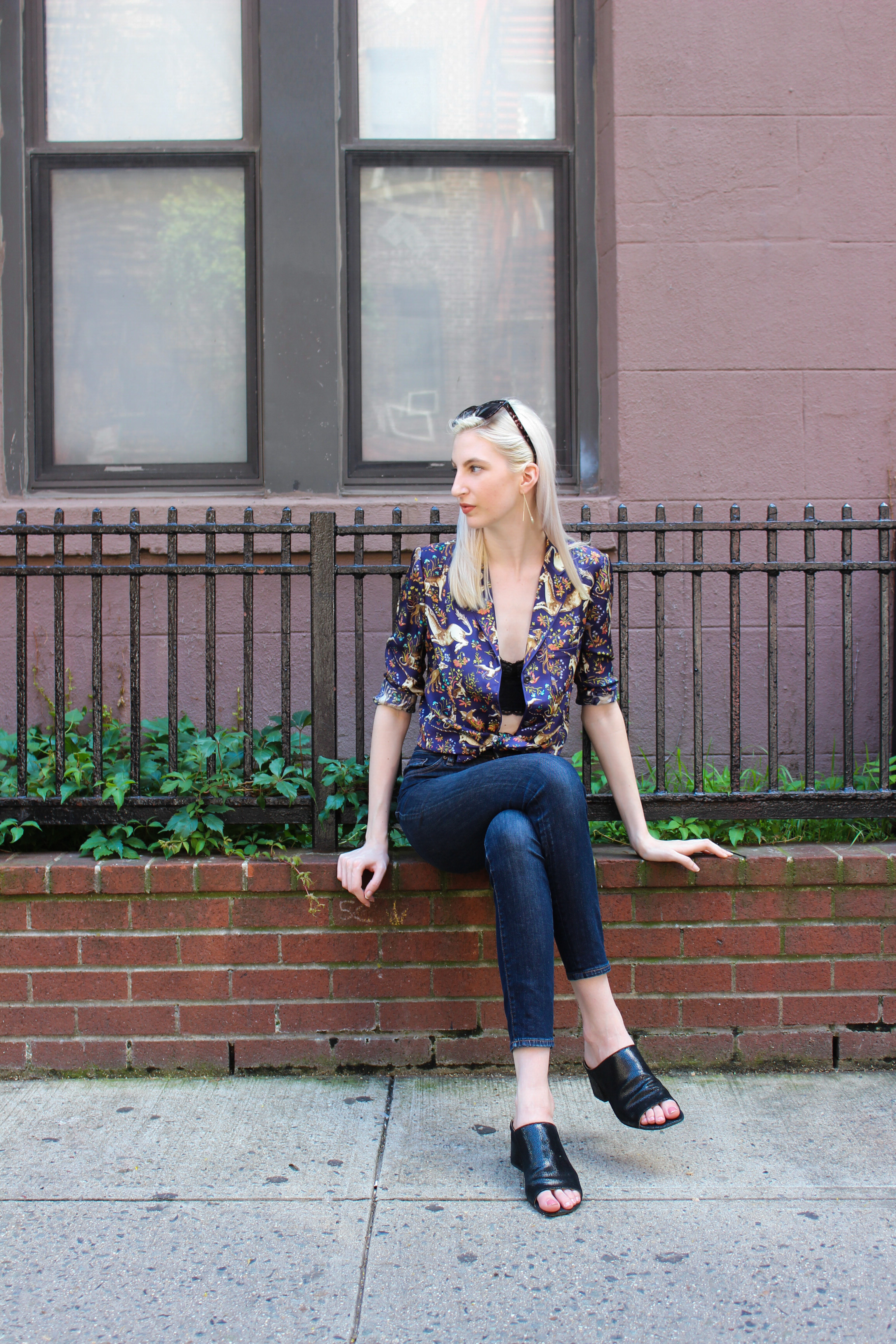 drakes silk button down, urban outfitters lace bralette, j.crew high rise jeans, donald j pliner mules