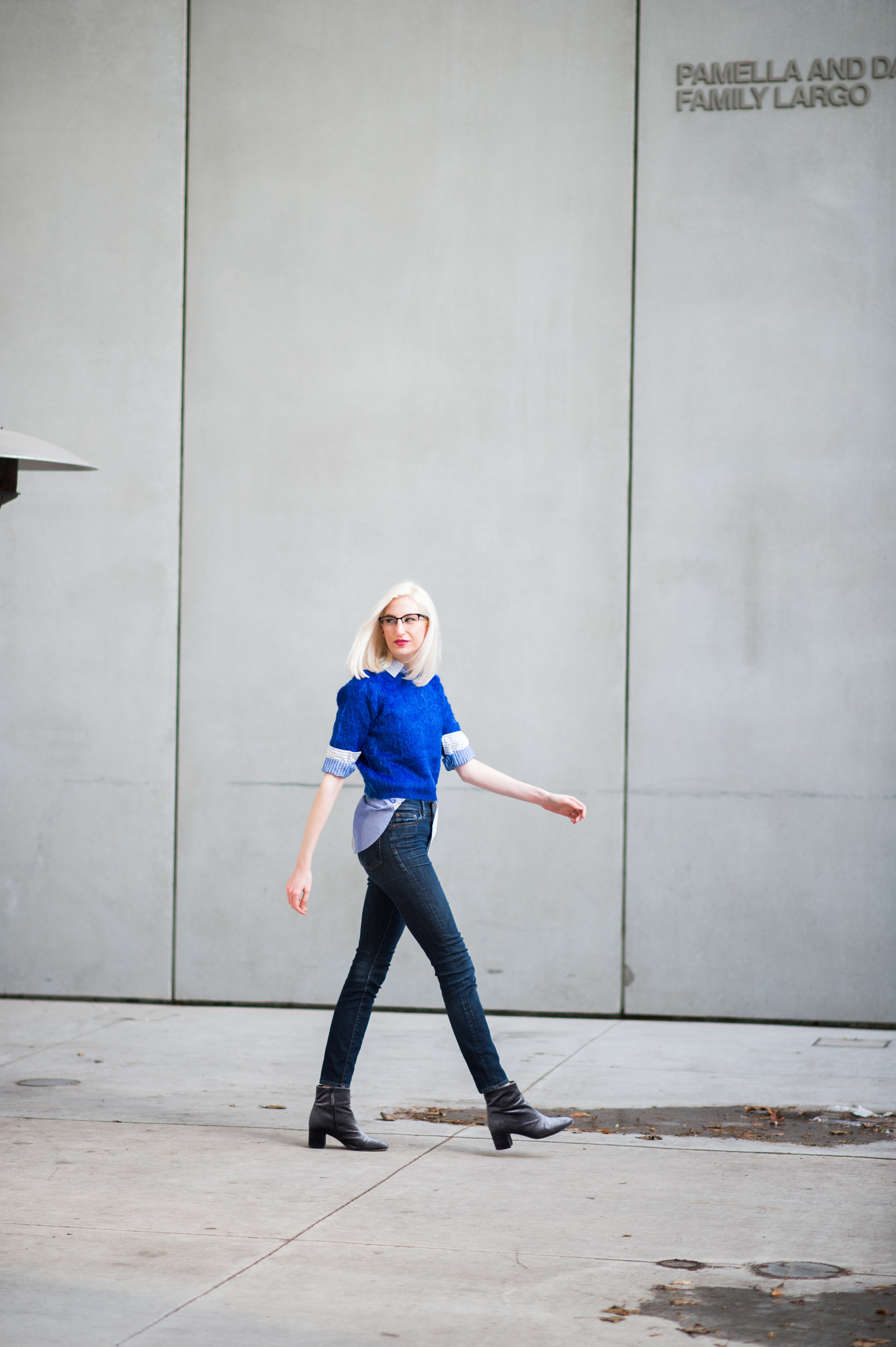 J.Crew cocktail shirt, fuzzy crop top tee, high waisted jeans, velvet ankle booties, fall fashion, cobalt blue