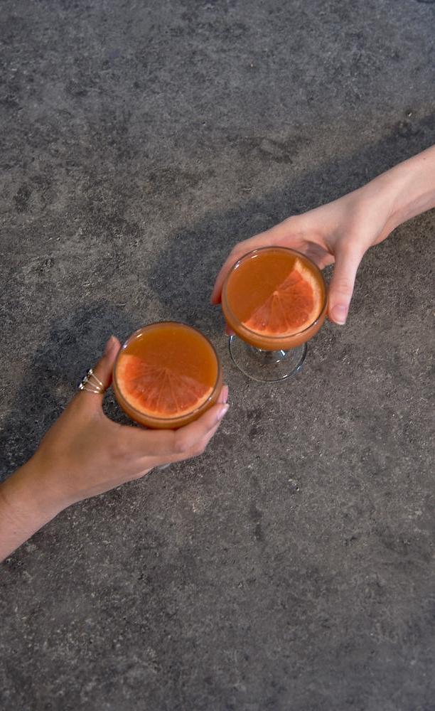 basil gin and grapefruit cocktail