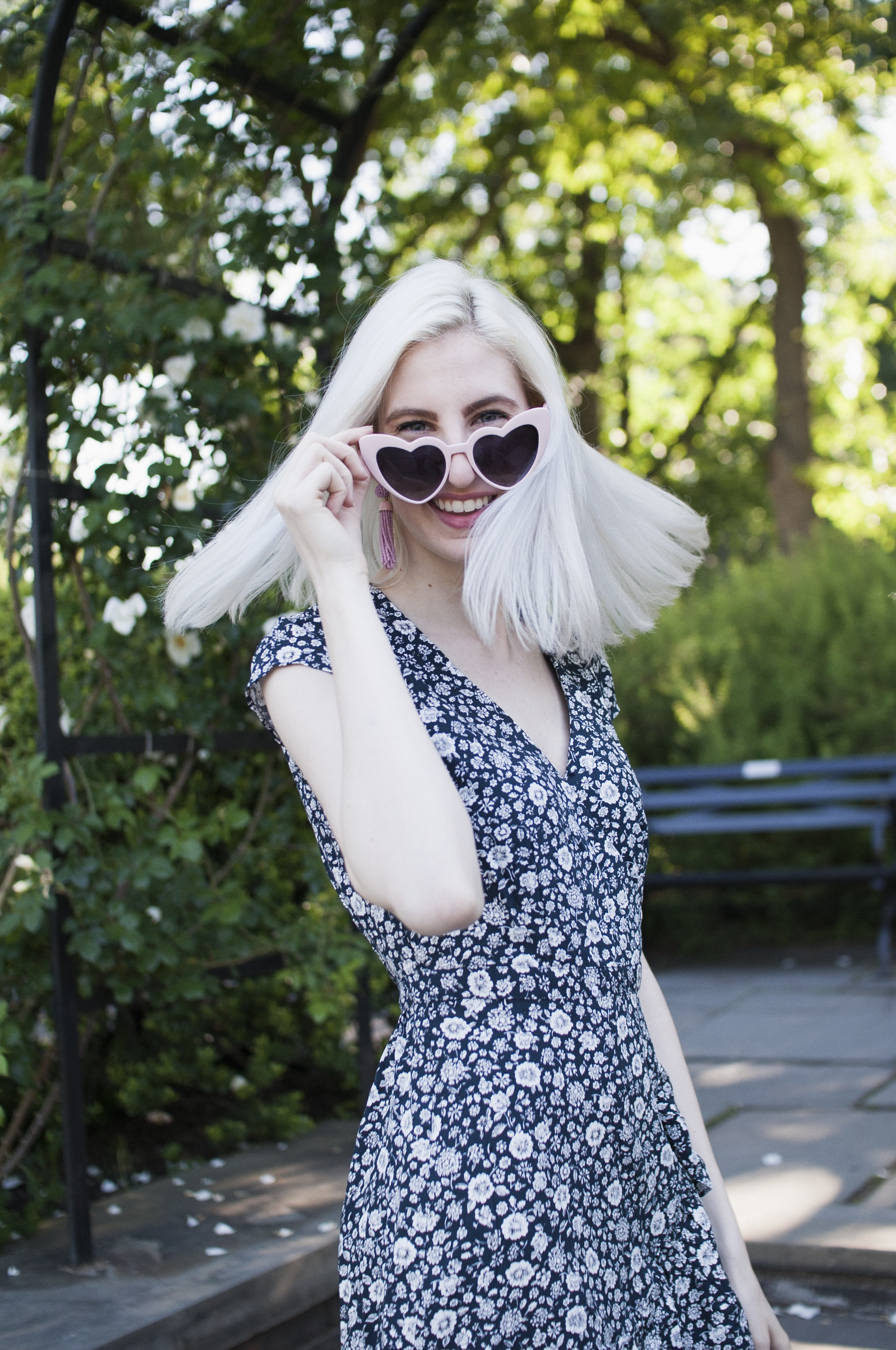 being an introverted blogger, jcrew floral summer dress, pink tassel beaded earrings, white platform supergas, dresses and sneakers outfit, affordable sundresses, summer style, summer outfits, jcrew addicts, platinum blonde hair, bottle blonde, white blonde, silver blonde